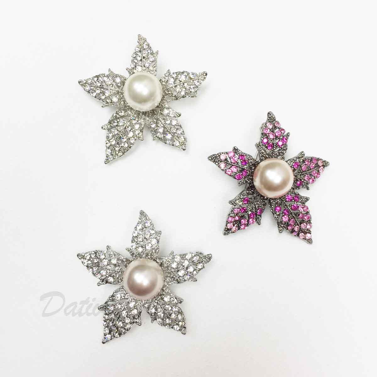 花朵 水鑽 珍珠 鐵灰 單個 三色 胸針