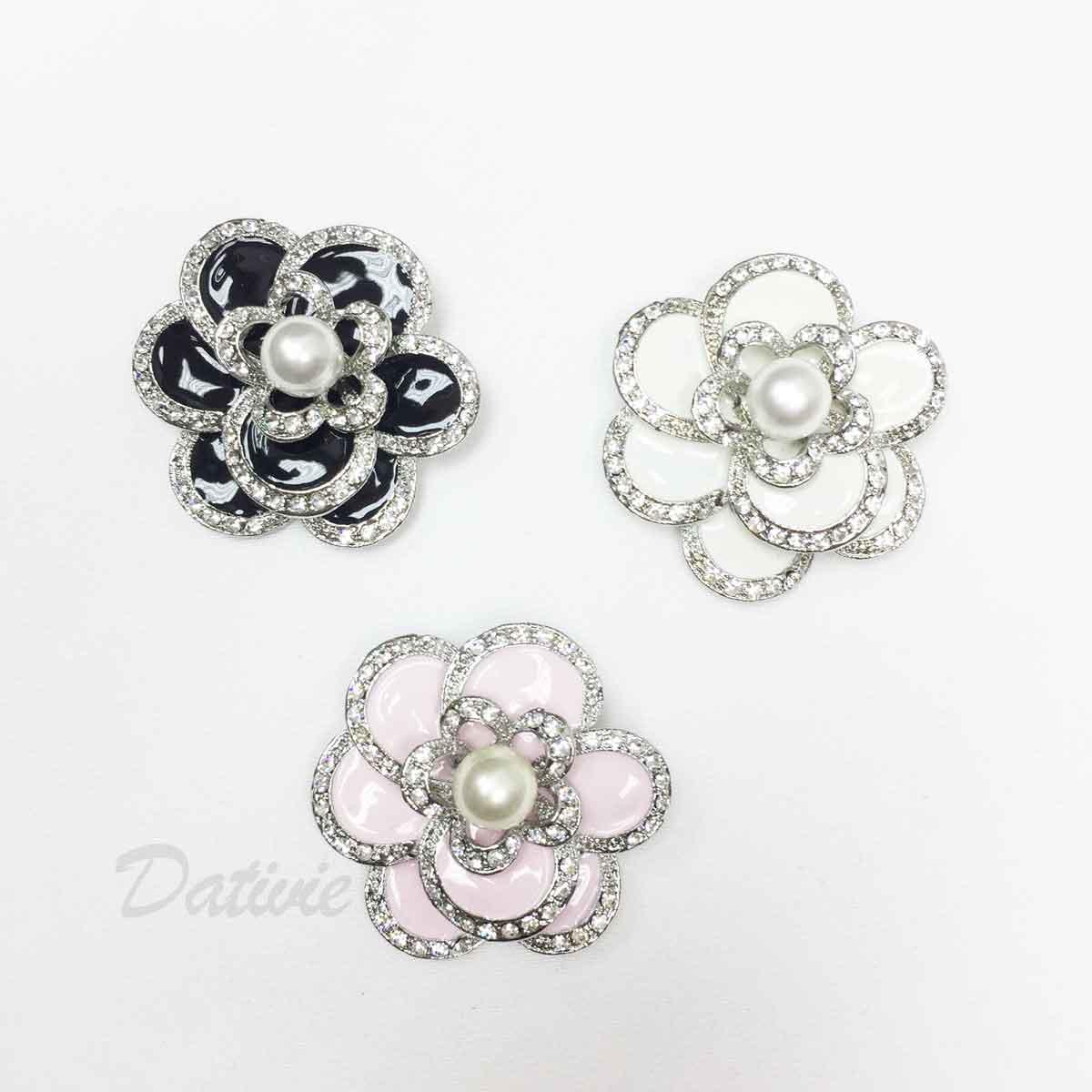 山茶花 花朵 珍珠 水鑽 黑色 粉紅 白 單個 三色 胸針