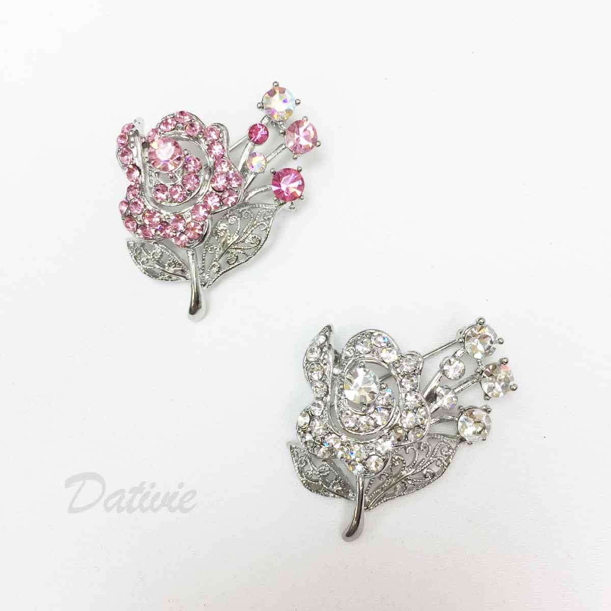 花朵 花束 葉子 葉片簍空 水鑽 粉鑽 兩色 單個 胸針