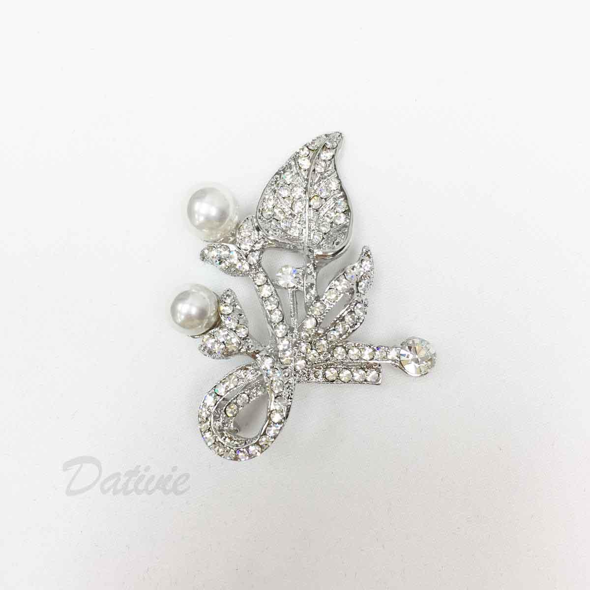 葉片 珍珠 花朵 緞帶 水鑽 不對稱 單個 胸針
