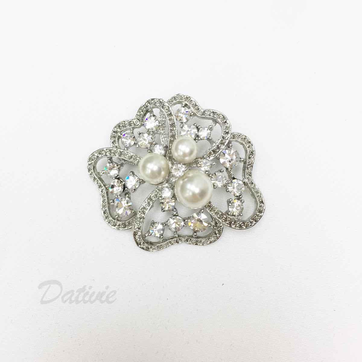 水鑽 珍珠 花朵  白鑽 單個 胸針