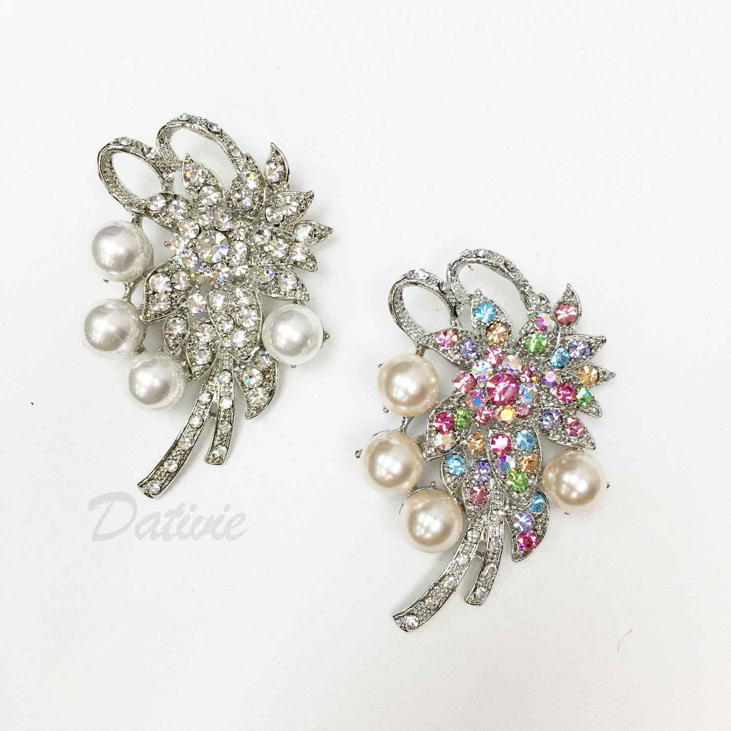 珍珠 彩鑽 白鑽 不對稱 造型 兩色 單個 胸針