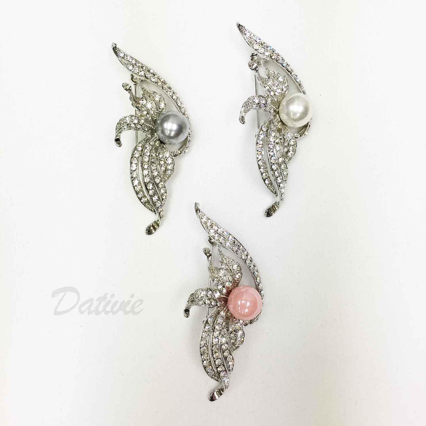 水鑽 翅膀 珍珠 葉子 線條 三色 單個 胸針