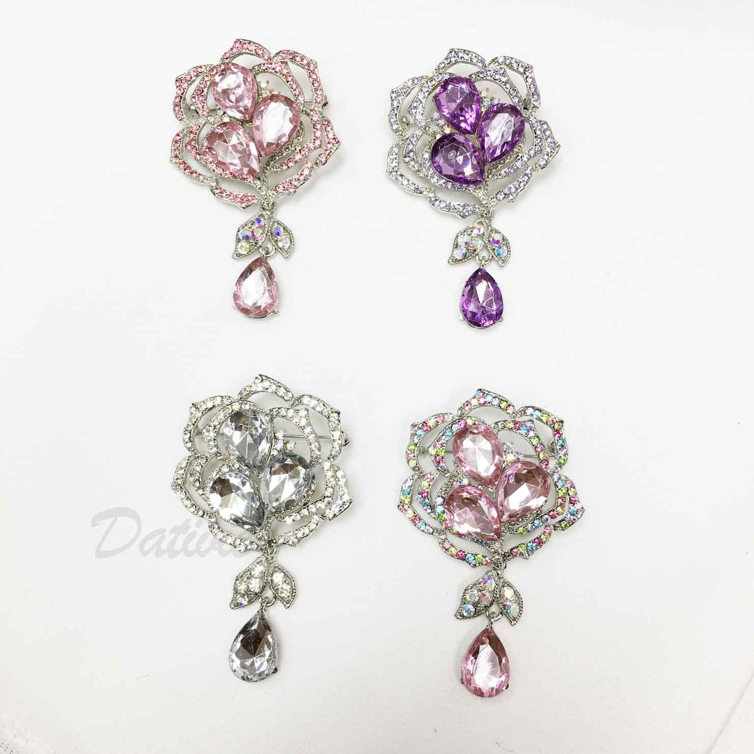 花朵 垂墜 吊飾 粉 紫 藍 彩色水鑽 白鑽 四色 單個 胸針