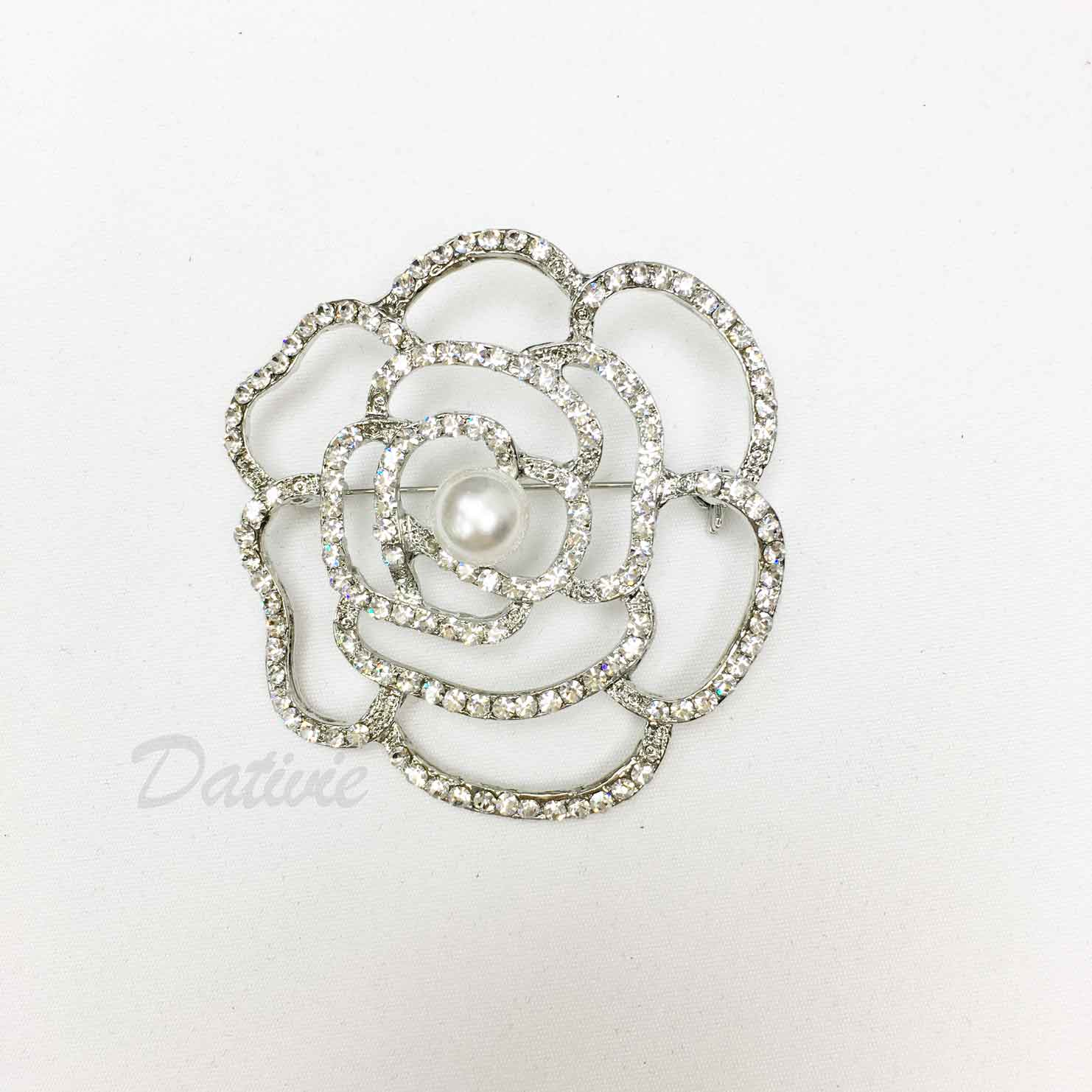 花朵 線條 簍空 珍珠 水鑽 簡約 單個 胸針