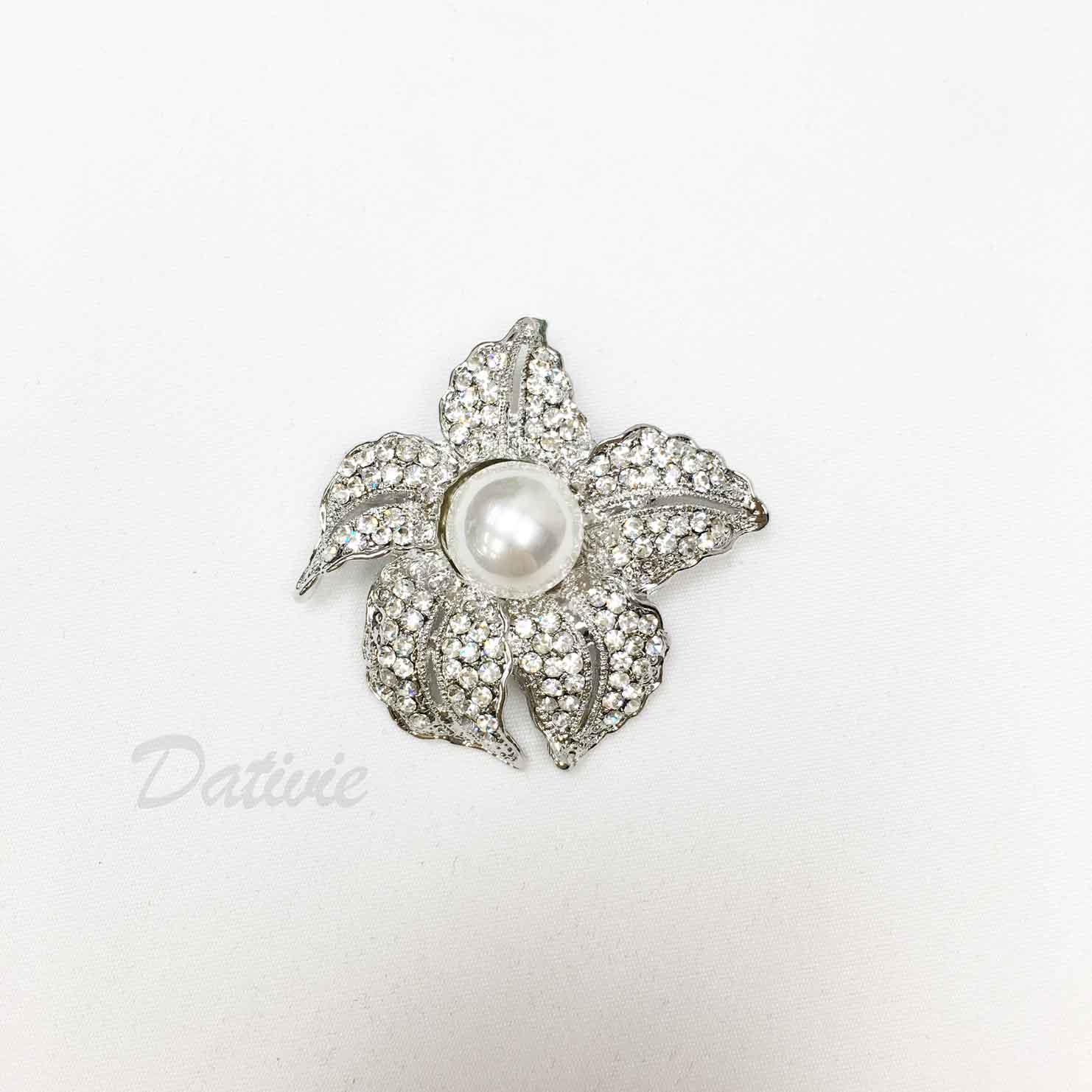 水鑽 葉片 花朵珍珠 單個 胸針