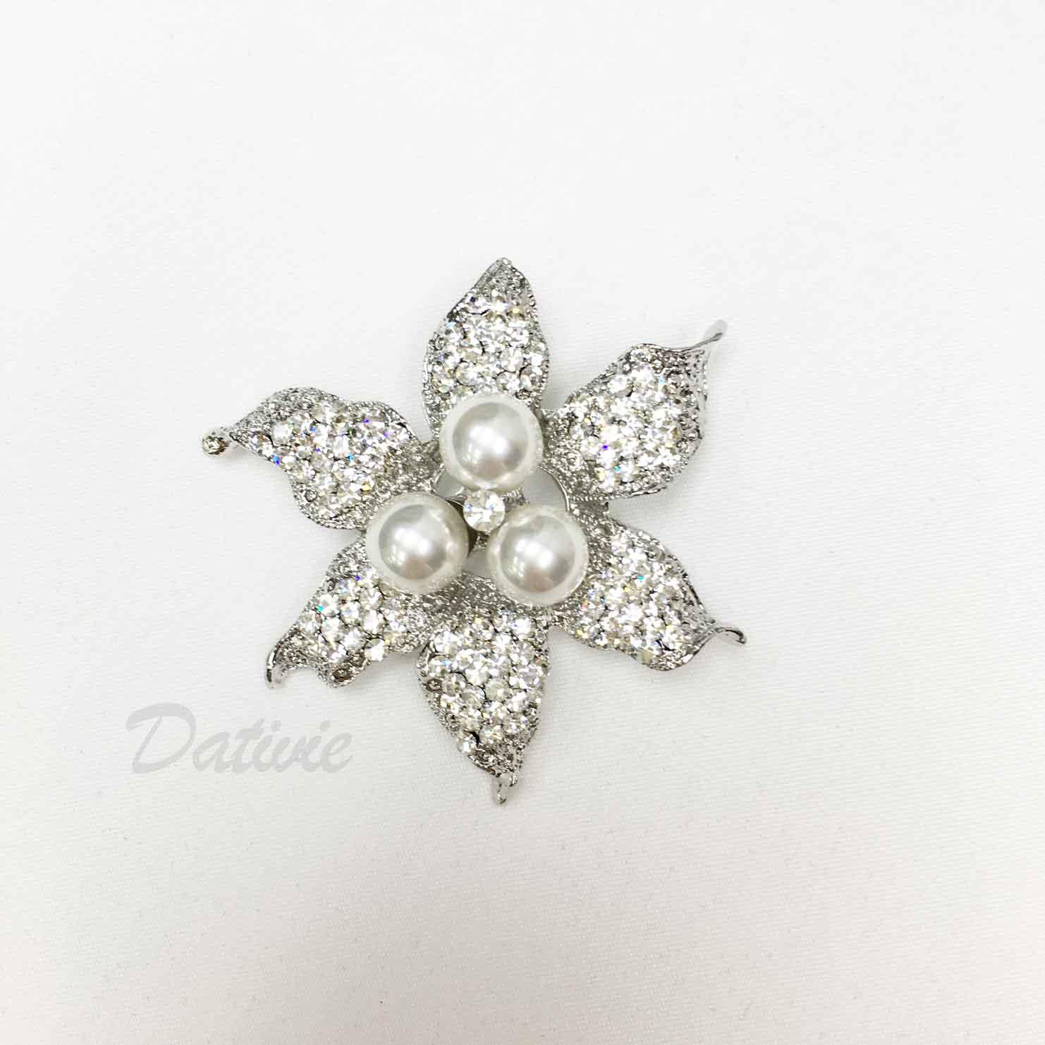 葉子 花朵 珍珠 單個 胸針