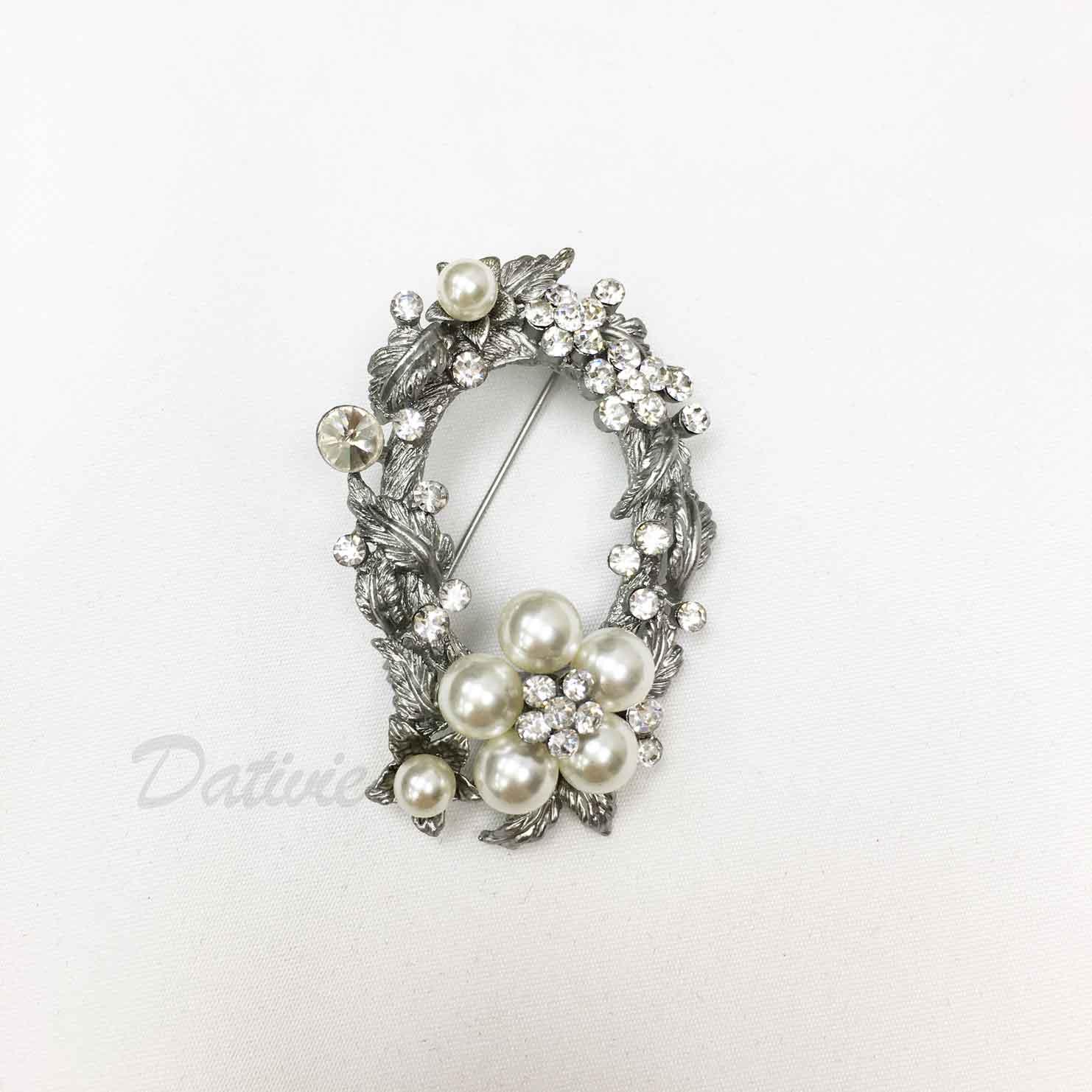 花環 造型 葉子 花朵 水鑽 珍珠 單個 胸針