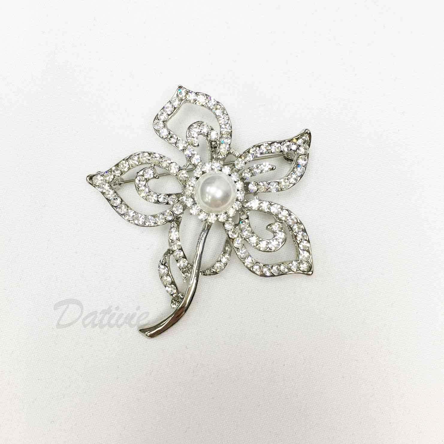 簍空 一枝花朵 珍珠 水鑽 白鑽 單個 胸針