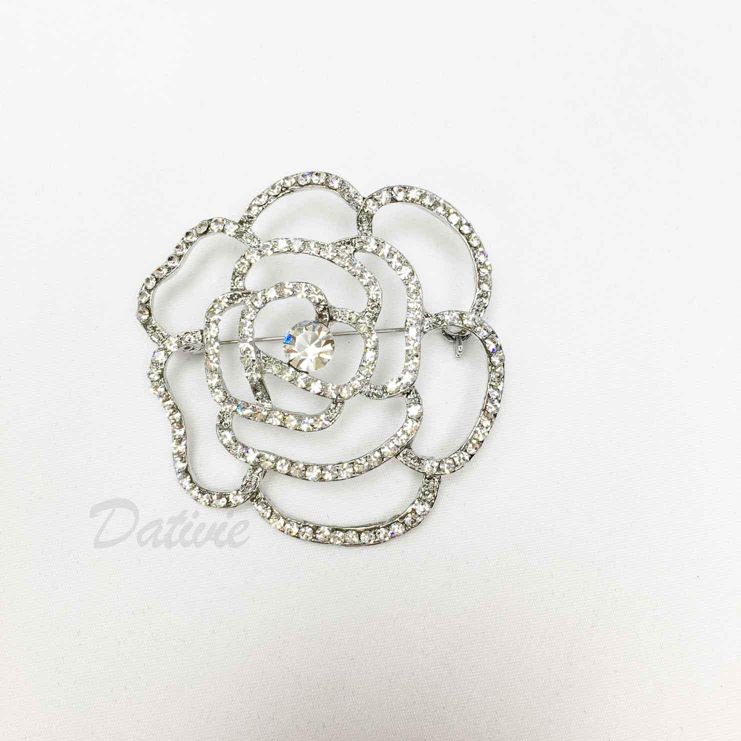 大花朵 簍空 線條 空心 水鑽 白鑽 單個 胸針