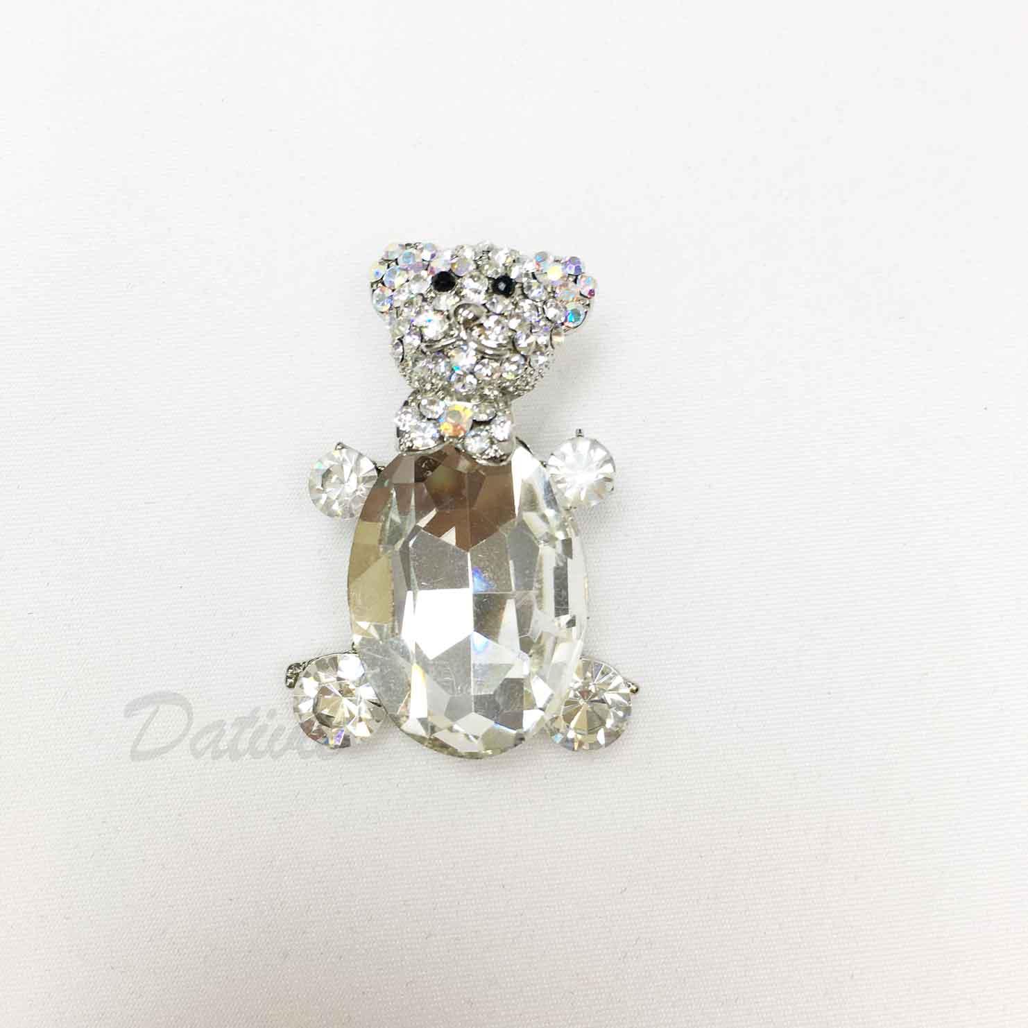 熊熊 熊玩偶 水鑽 白鑽 可愛造型 單個 胸針