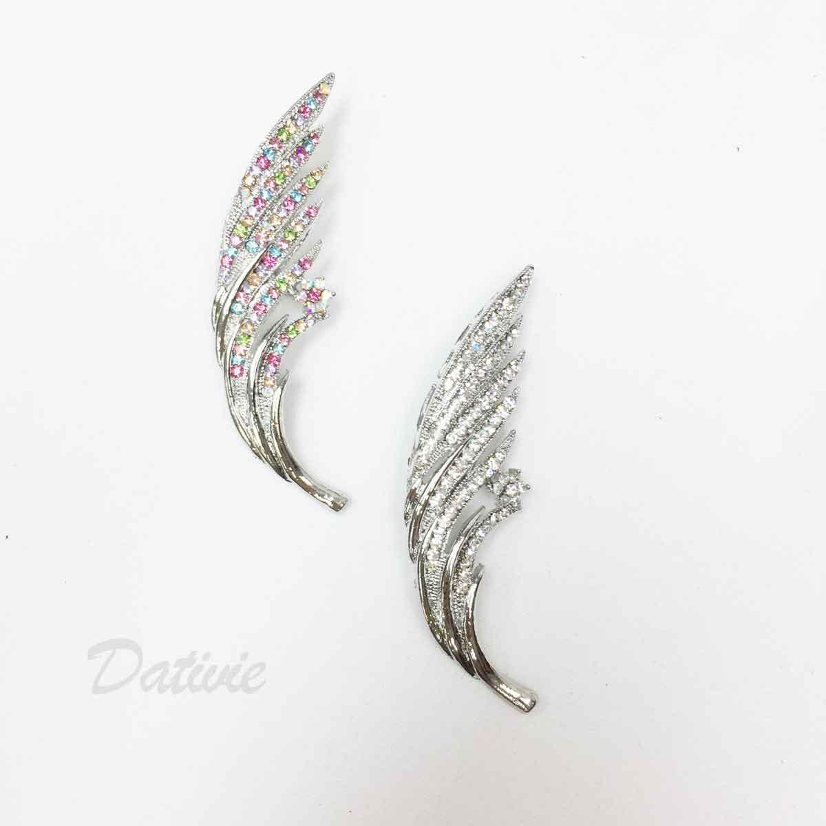 羽毛 翅膀 小花 水鑽 彩鑽 兩色 單個 胸針