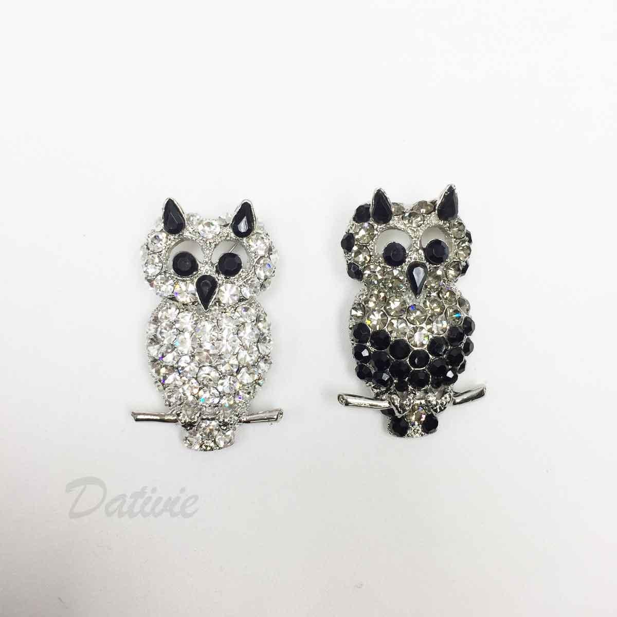 貓頭鷹 白鑽 黑鑽 水鑽 兩色 單個 胸針