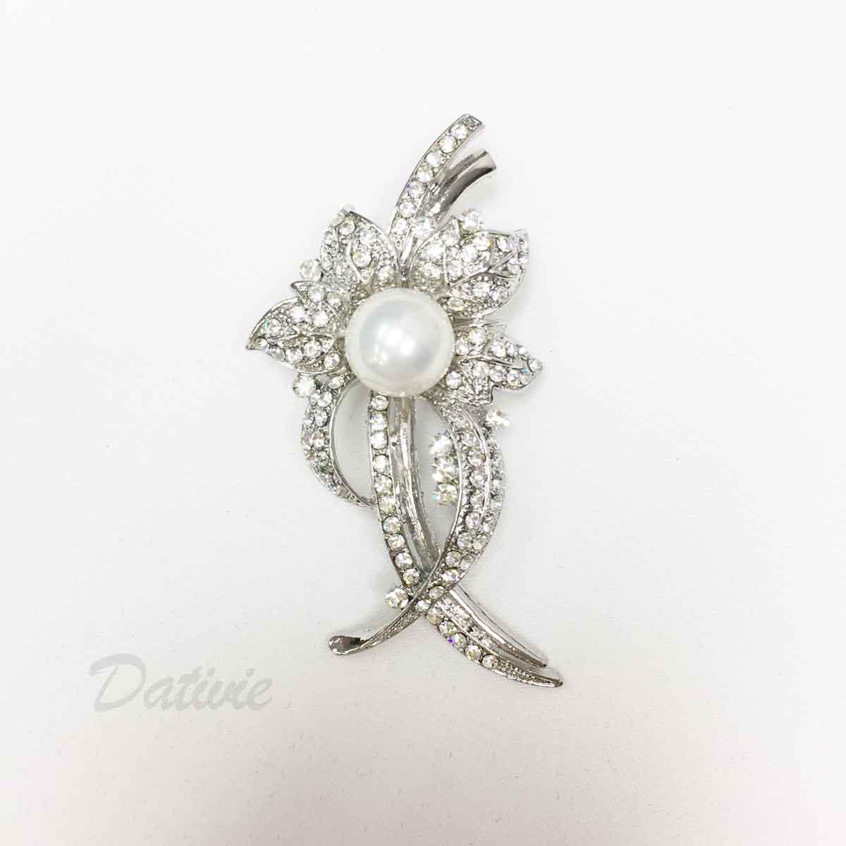 珍珠 葉片 葉子 水鑽 優美線條 造型 單個 胸針