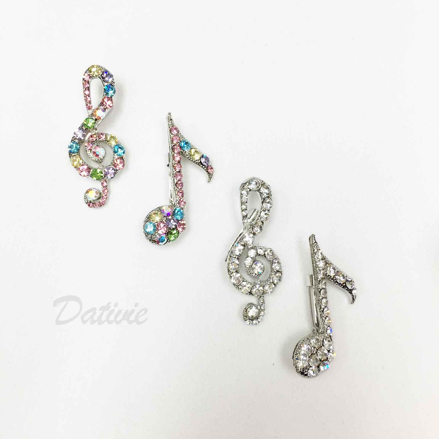 音符 彩色水鑽 一組兩款 白鑽 可愛 兩色 二入一組 胸針