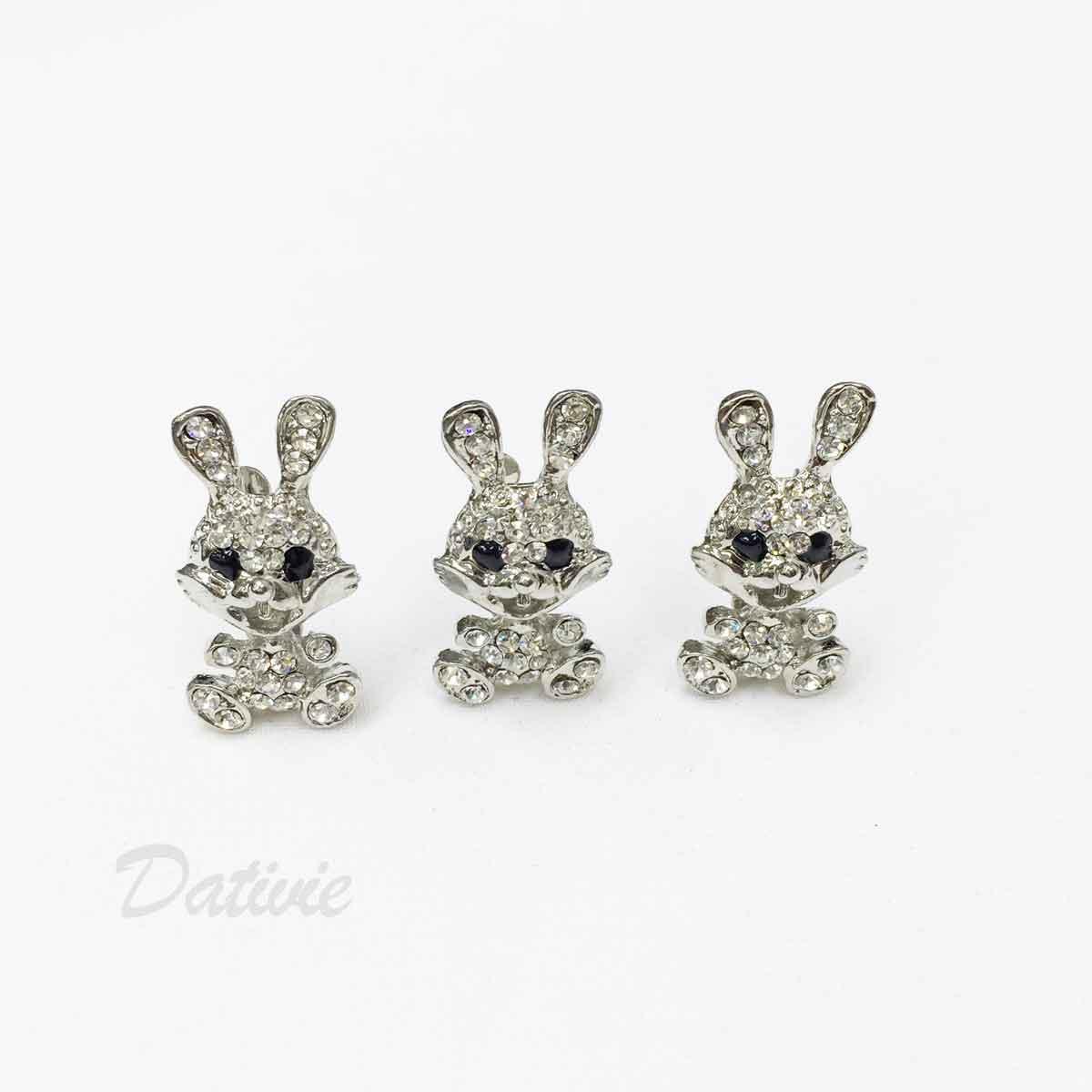 兔子 兔兔玩偶 可愛 水鑽 白鑽 黑鑽 三入一組 胸針