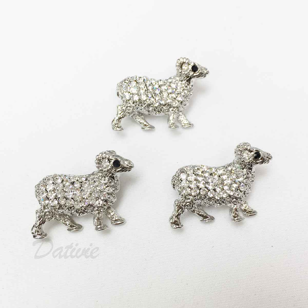 綿羊 動物造型 可愛 水鑽 黑鑽 三入一組 胸針