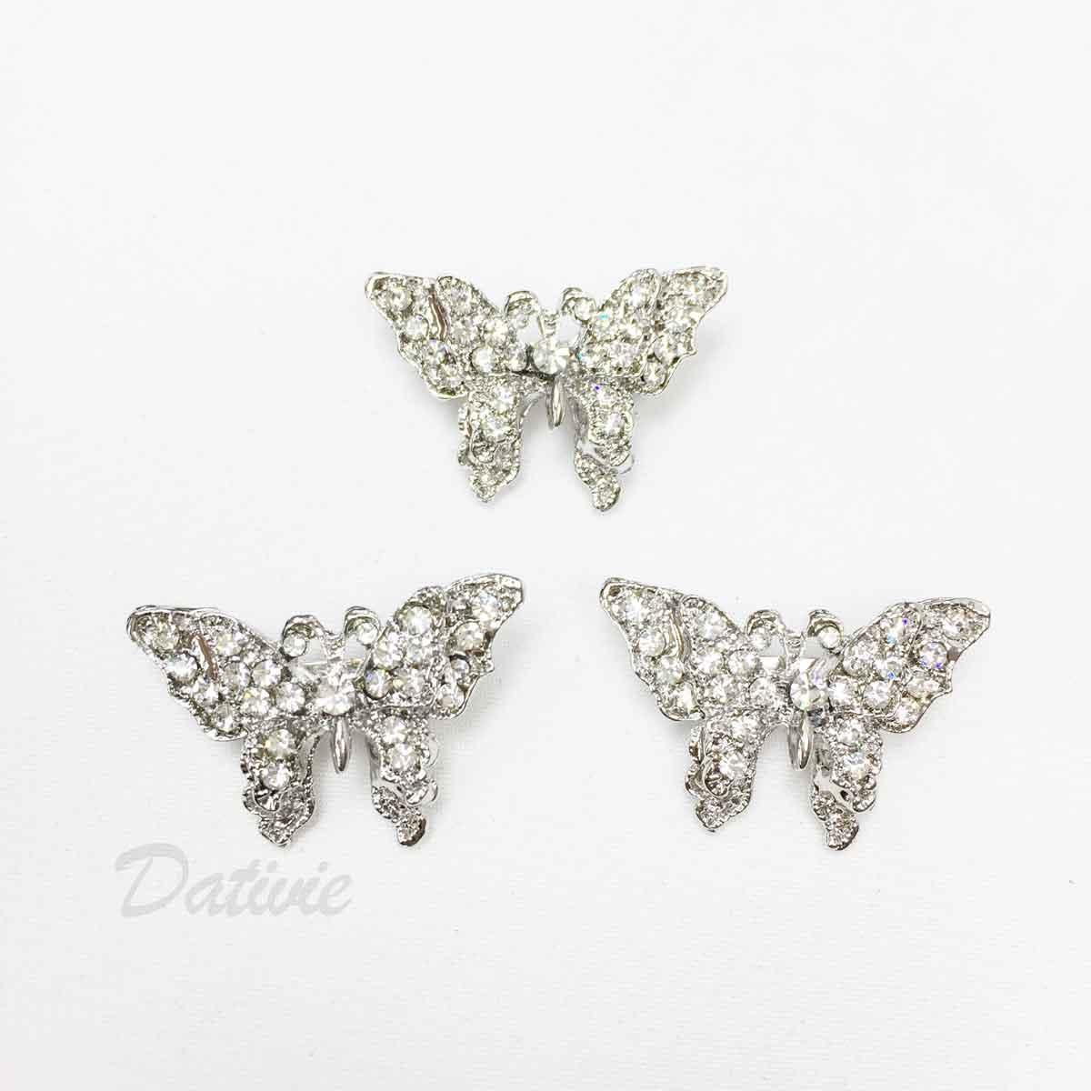 蝴蝶 水鑽 白鑽 翅膀 可愛 三入一組 胸針