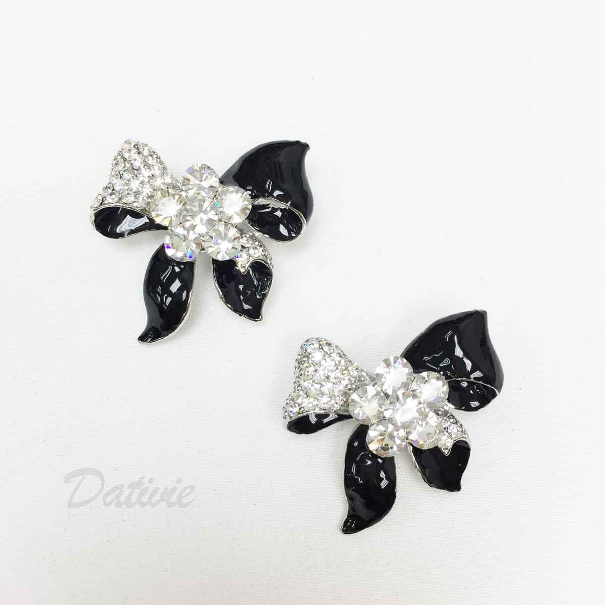 黑色 水鑽 蝴蝶結 緞帶 白鑽 撞色 二入一組 胸針