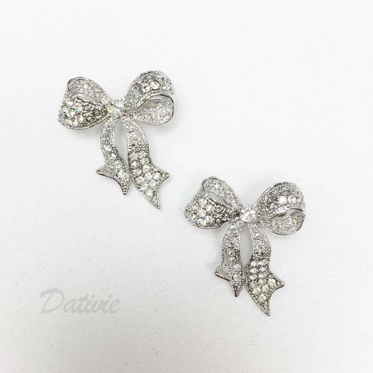 蝴蝶結 緞帶 水鑽 白鑽 可愛 二入一組 胸針