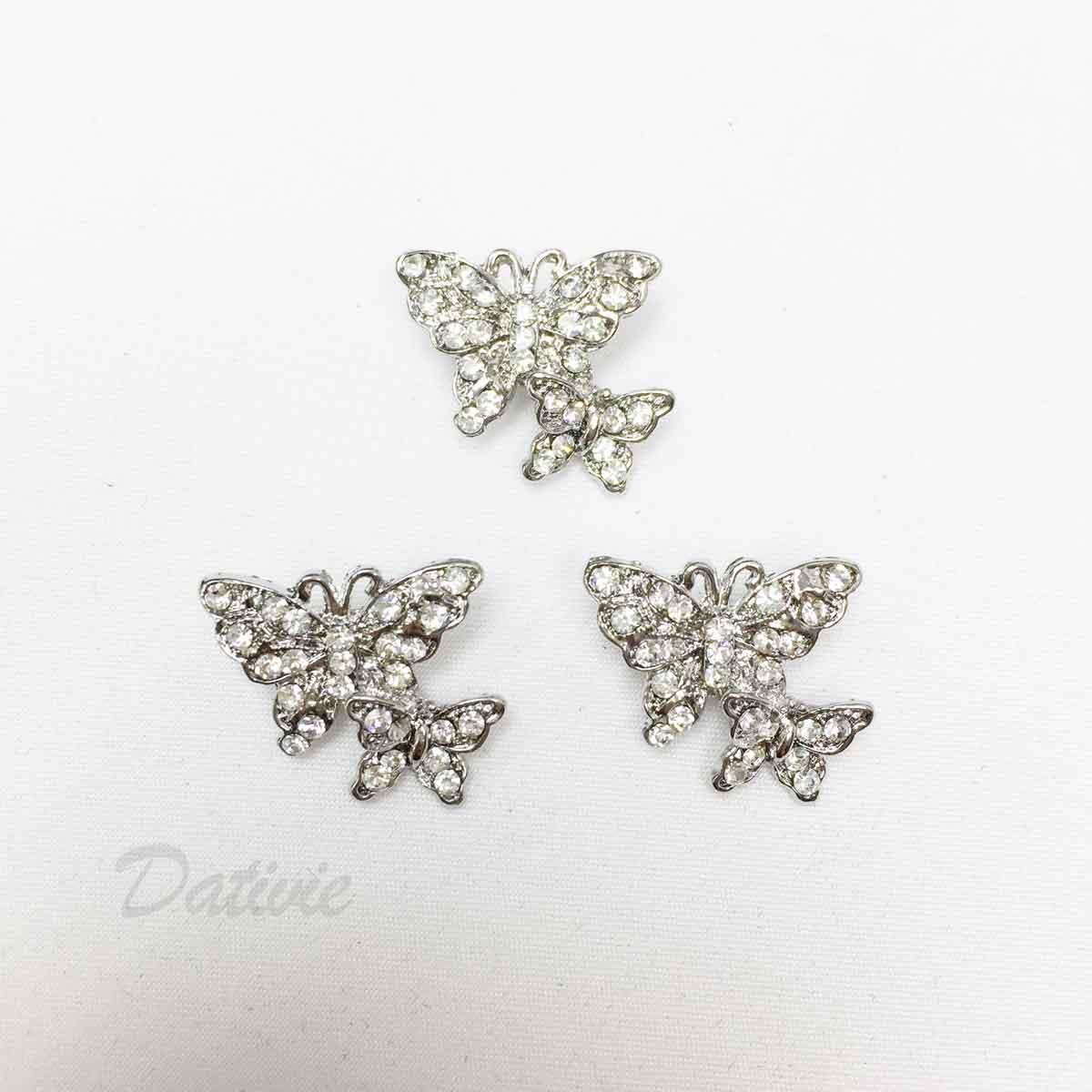 雙蝴蝶 水鑽 可愛 白鑽 三入一組 胸針