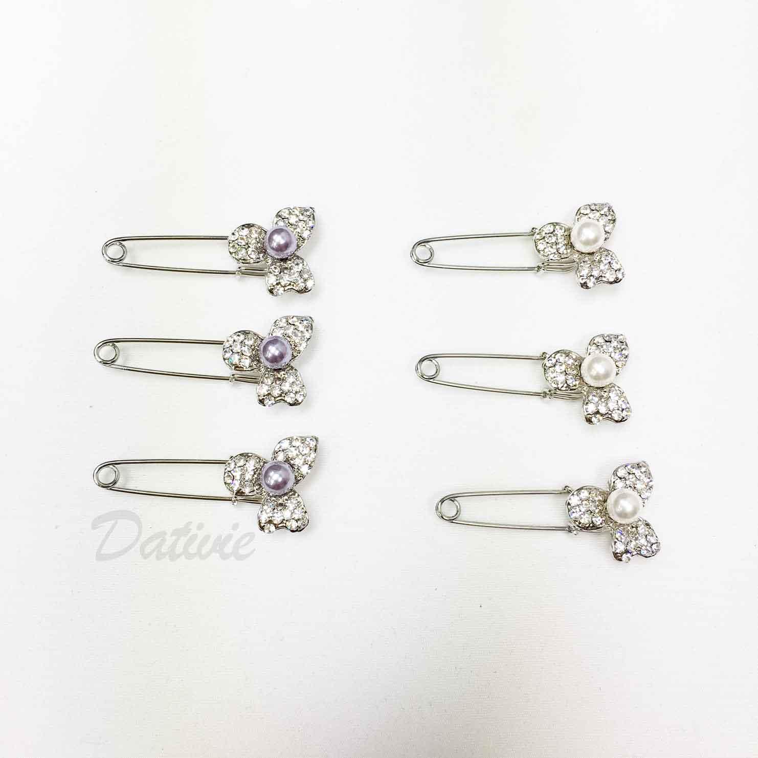 紫珍珠 花朵 花花 別針造型 兩色 三入一組 胸針