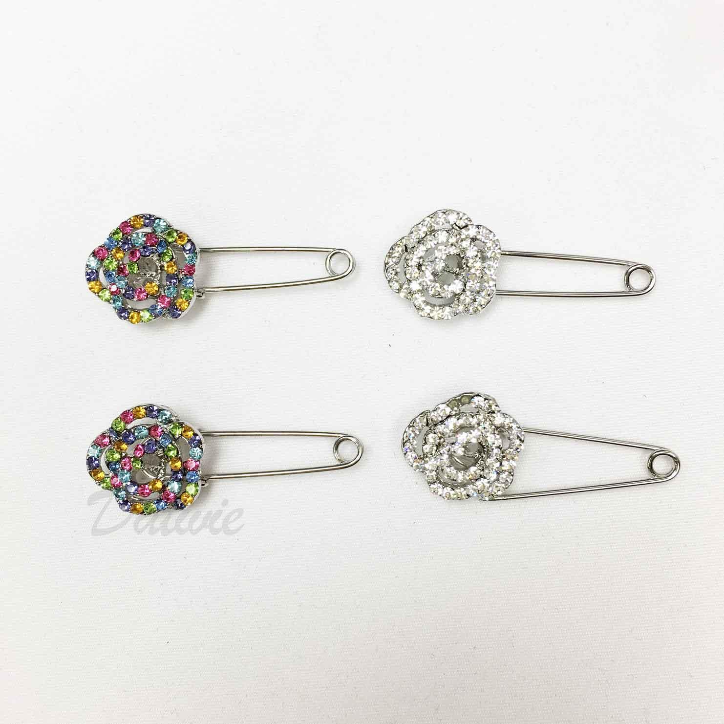 花朵 線條 簍空 彩色水鑽 白鑽 別針造型 兩色 二入一組 胸針