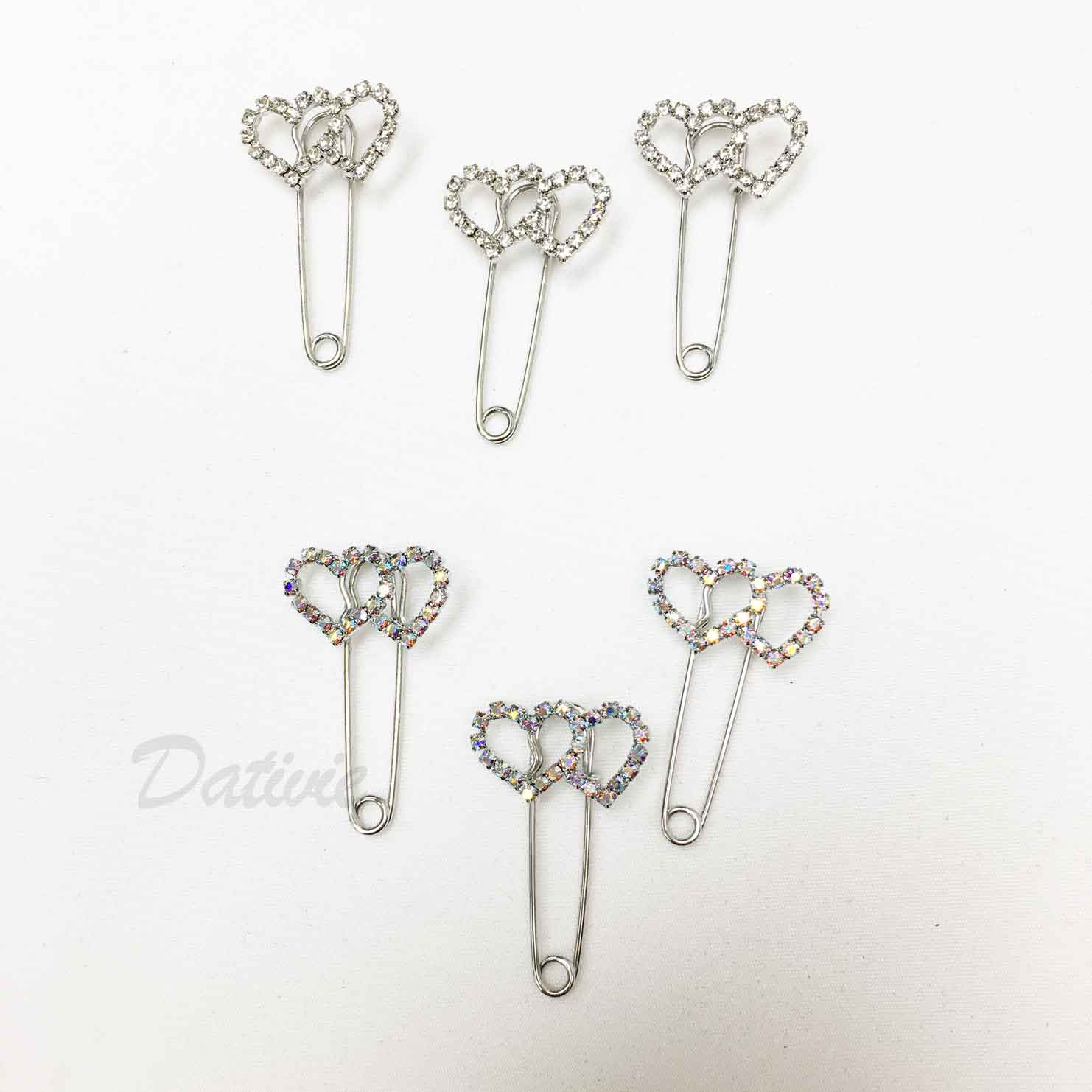 雙愛心 簍空 線條 簡約 可愛 白鑽 銀 別針造型 三入一組 胸針
