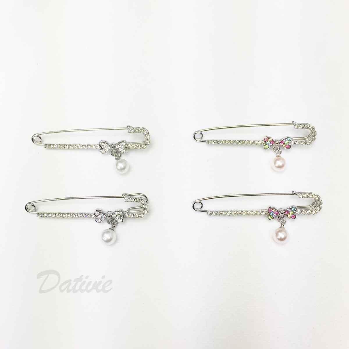 蝴蝶結 珍珠 垂墜 吊飾 彩色水鑽 白鑽 別針造型 兩色 二入一組 胸針