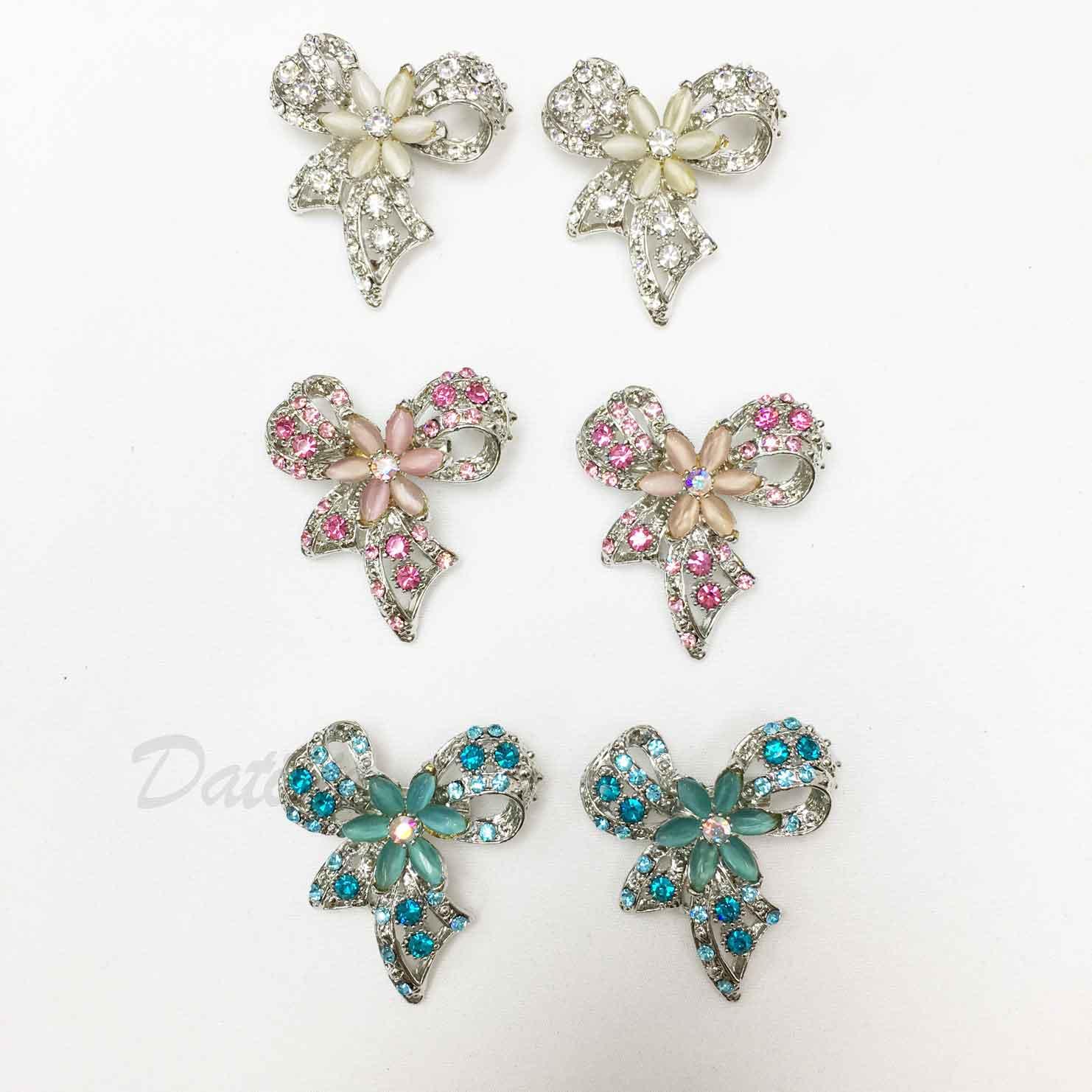 蝴蝶結 花朵 珠珠 彩色水鑽 白鑽 三色 二入一組 胸針