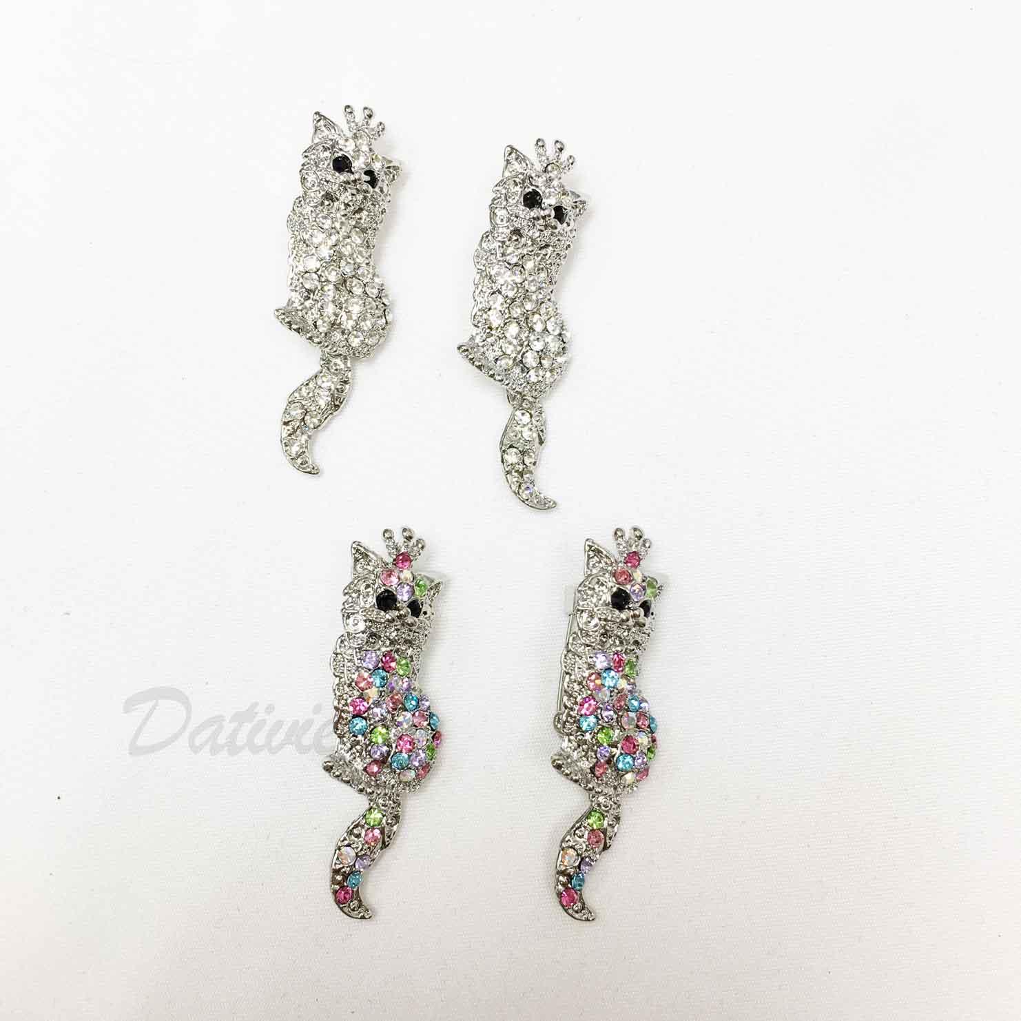 貓咪 可愛 白貓 王冠 彩色水鑽 白鑽 黑鑽 動物造型 兩色 二入一組 胸針