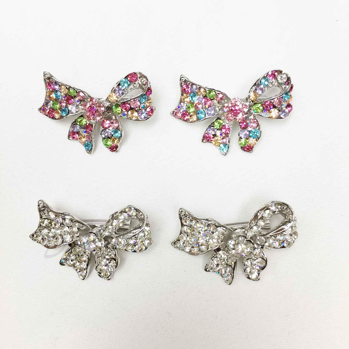 彩色水鑽 白鑽 緞帶 不對稱 蝴蝶結 兩色 二入一組 胸針