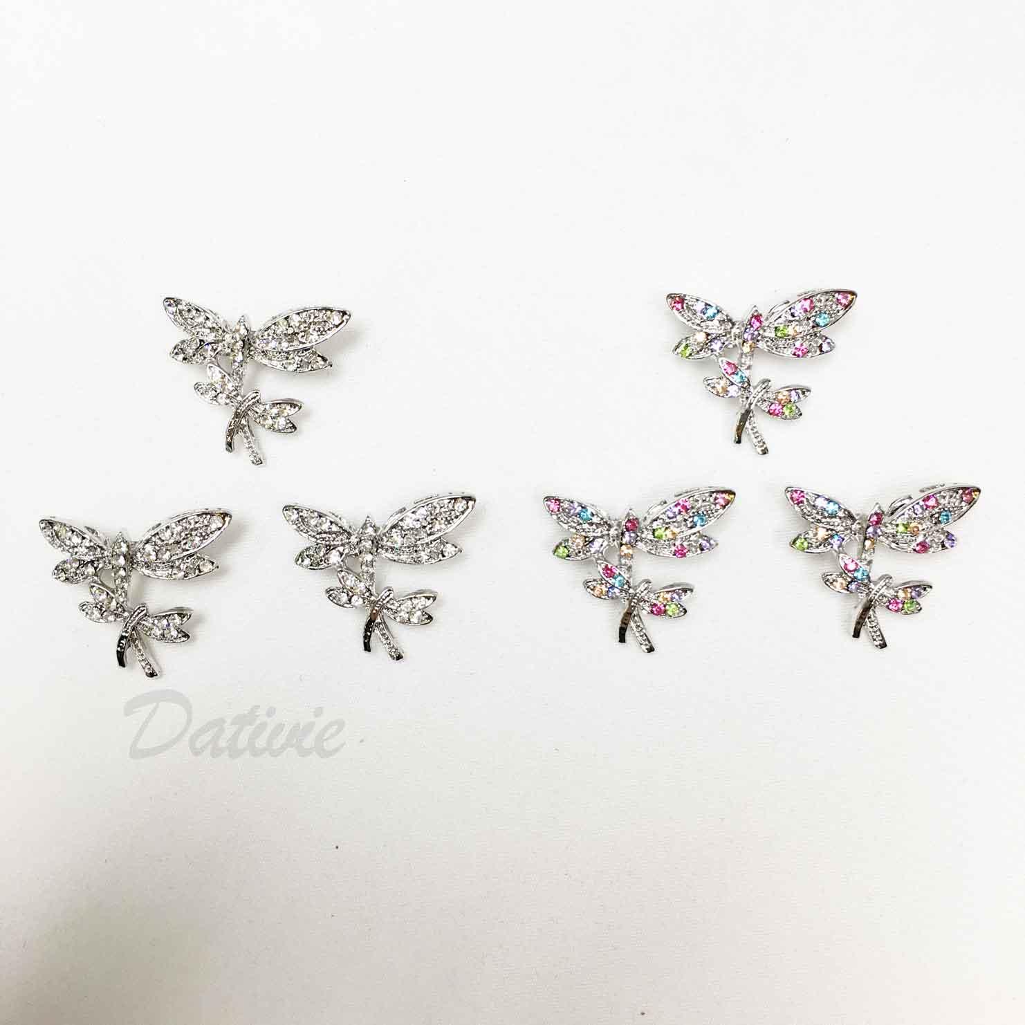 雙蜻蜓 彩色水鑽 白鑽 可愛 兩色 三入一組 胸針