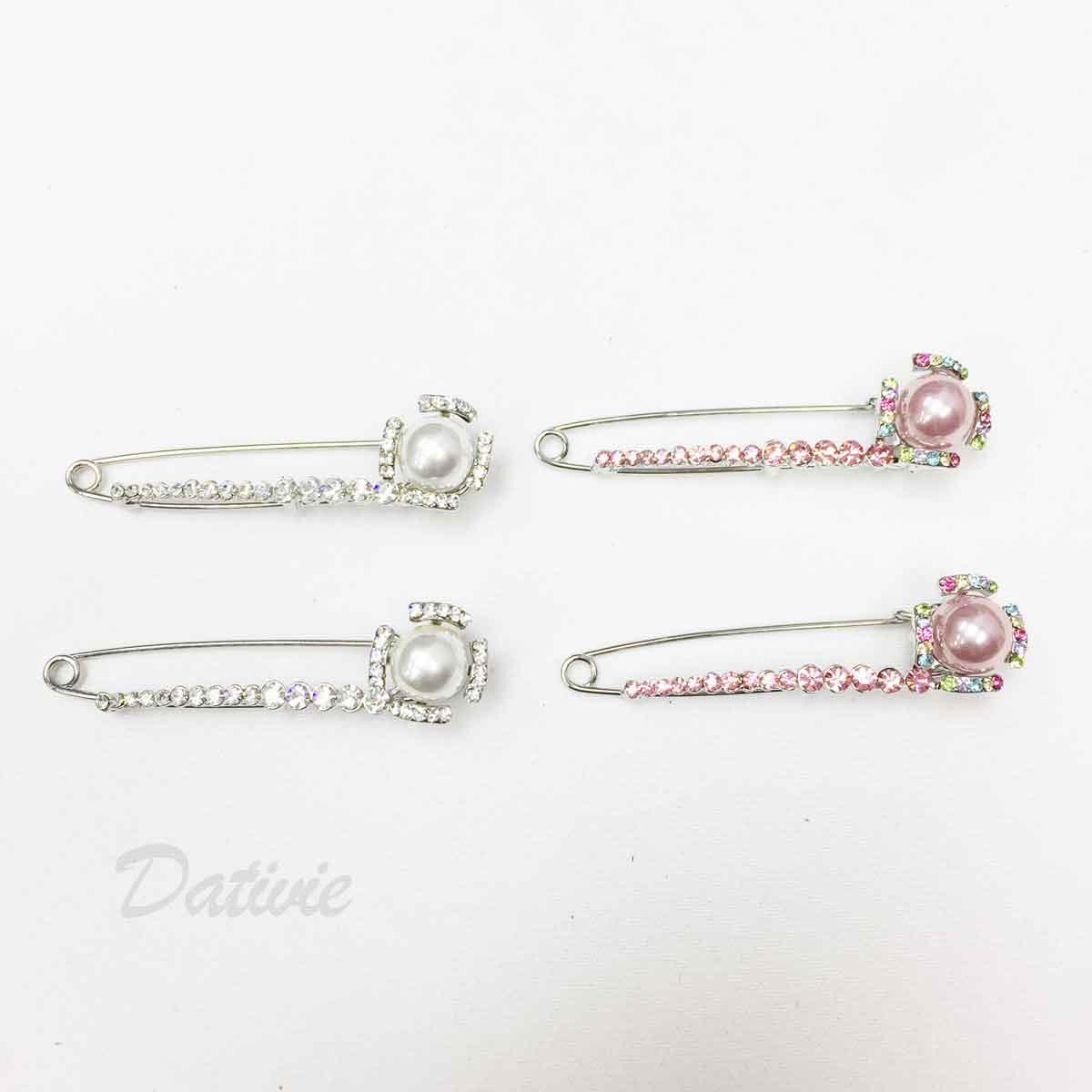 珍珠 彩色水鑽 白鑽 別針造型 兩色 二入一組 胸針
