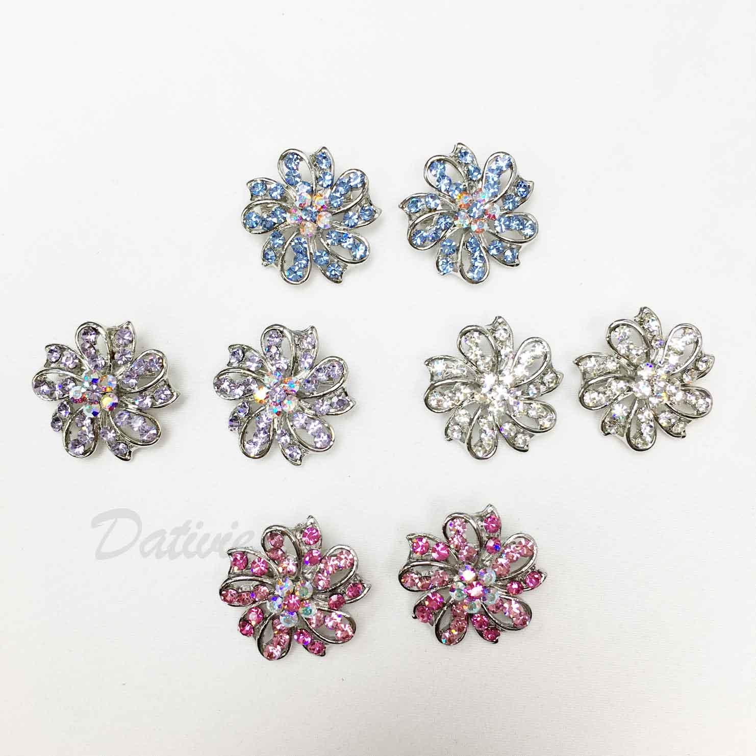 簍空 緞帶 花朵 花花 藍鑽 紫鑽 水鑽 四色 二入一組 胸針