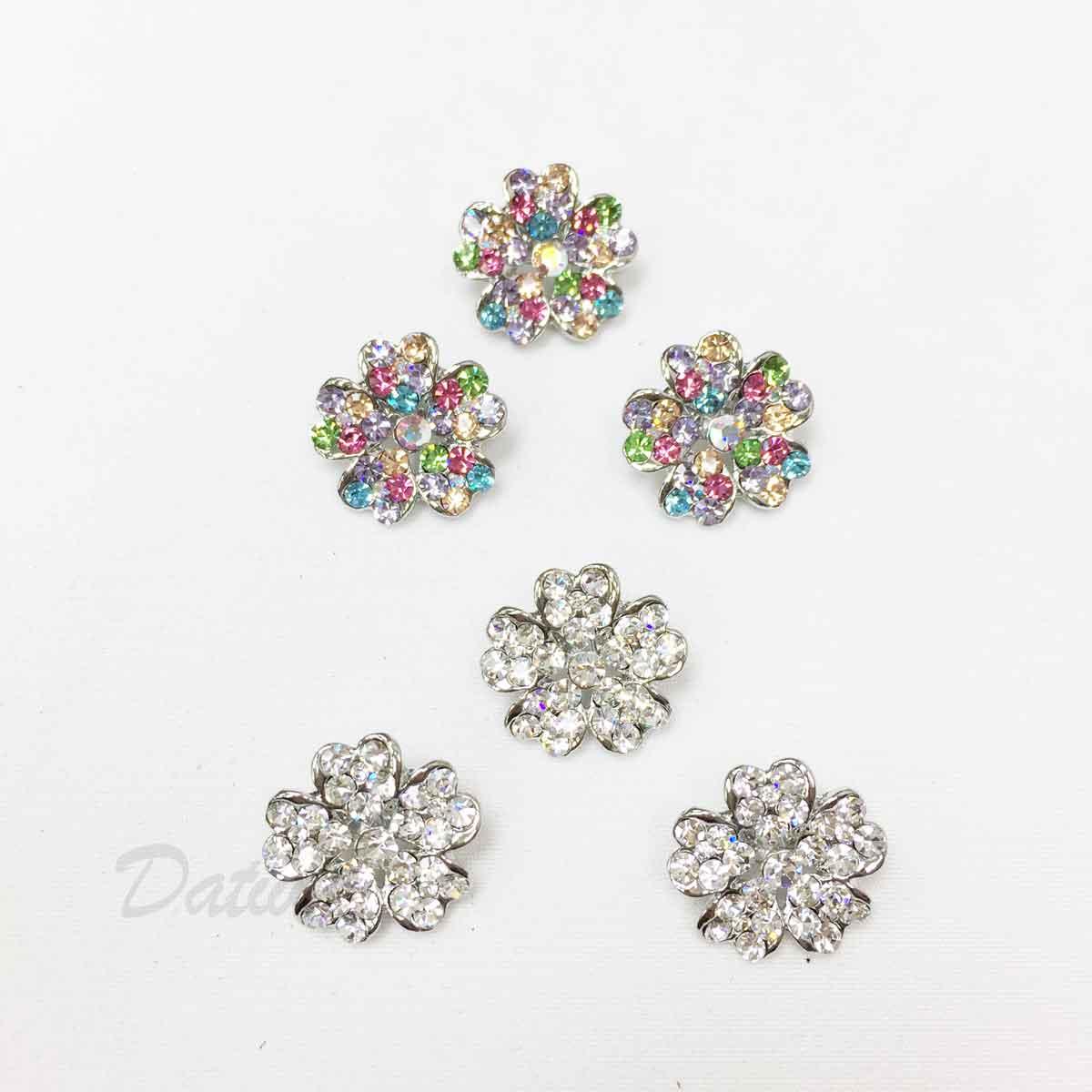 幸運草 花朵 彩色水鑽 白鑽 可愛 兩色 三入一組 胸針