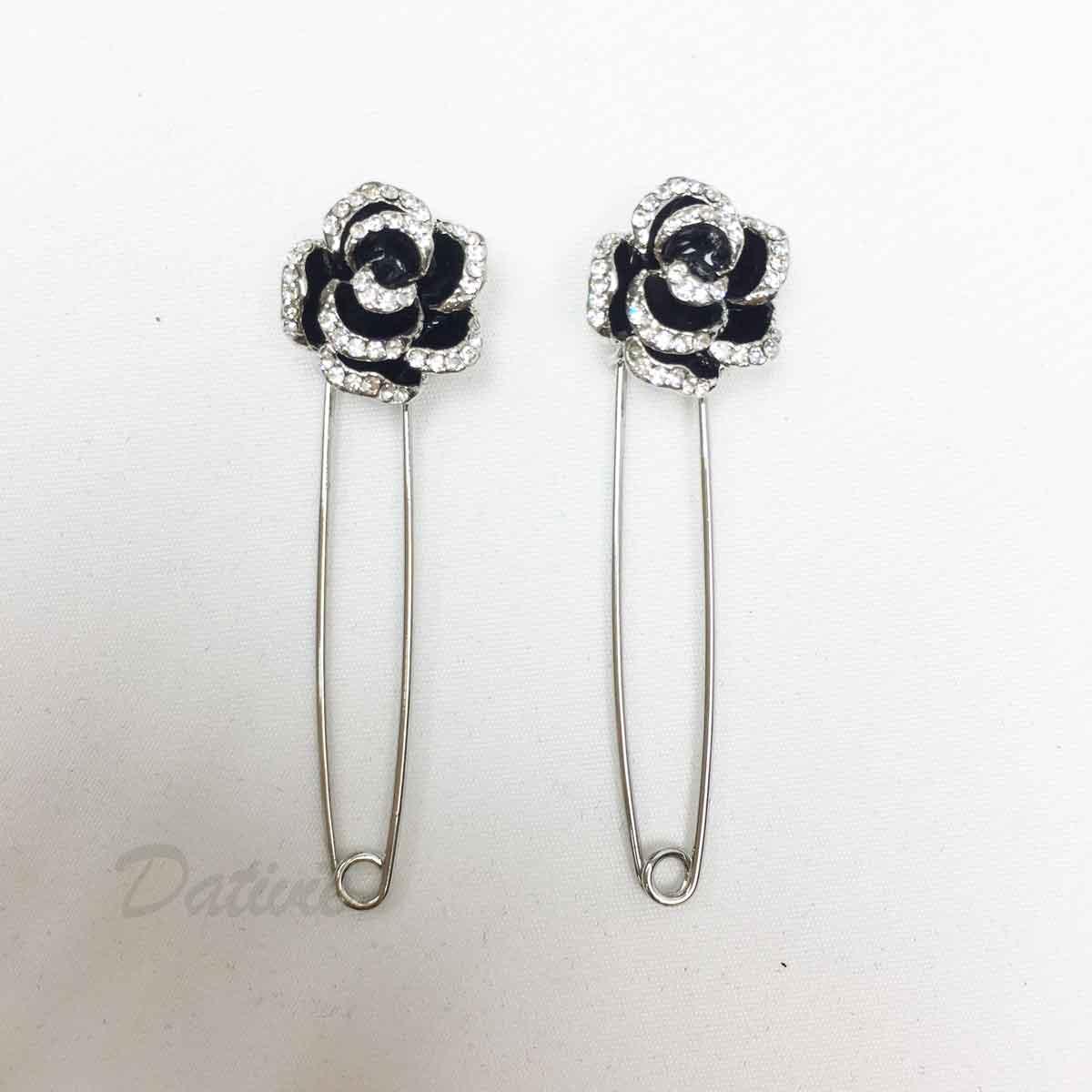黑色花朵 水鑽 玫瑰花 別針造型 二入一組 胸針