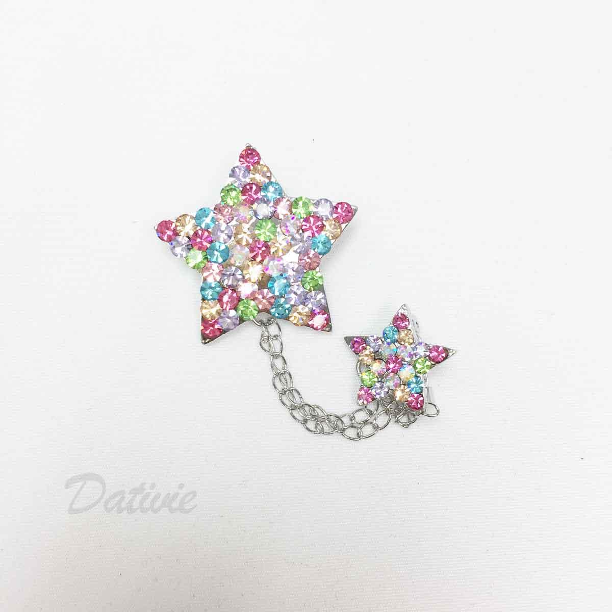 大小星星 彩色水鑽 鍊條造型 單個 胸針