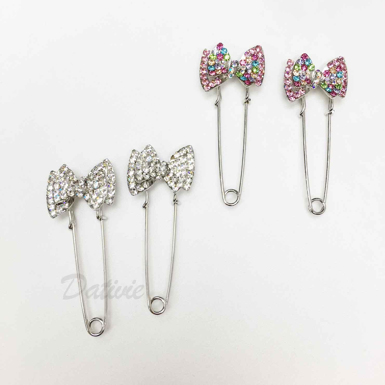 蝴蝶結別針 彩色水鑽 白鑽 可愛  兩色 二入一 組 胸針