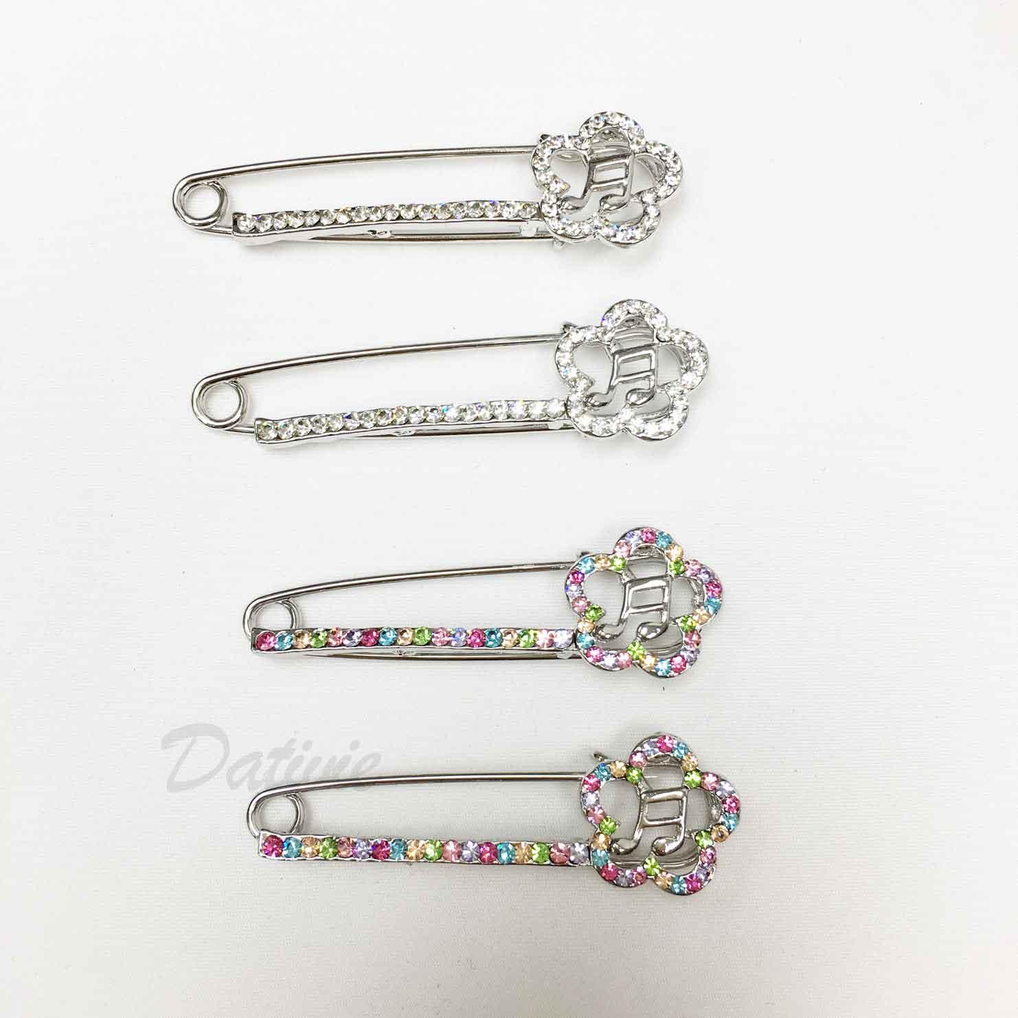別針造型 花朵 音符 簍空 水鑽 兩色 二入一組 胸針