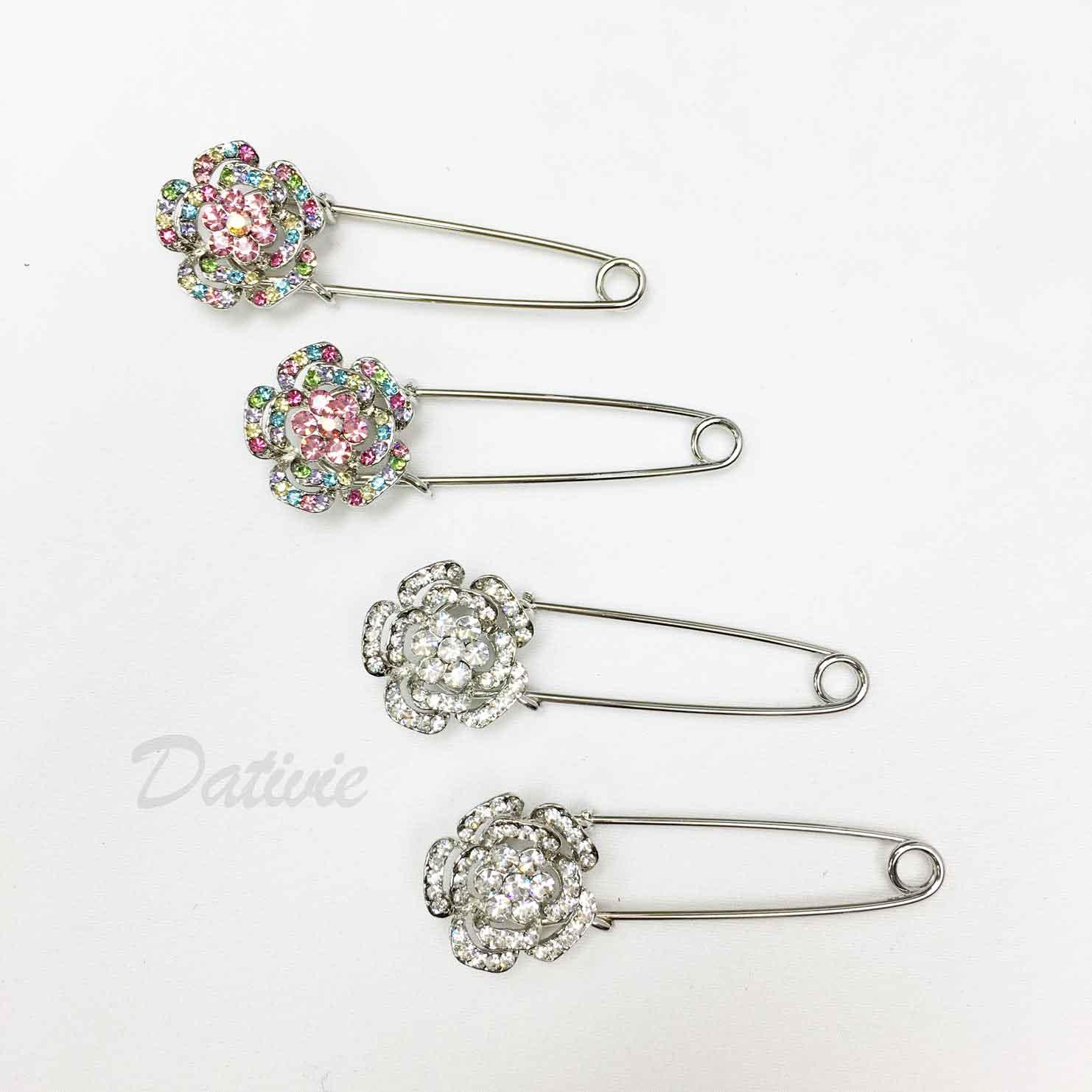 別針造型 花朵 簍空 彩色水鑽 兩色 二入一組 胸針