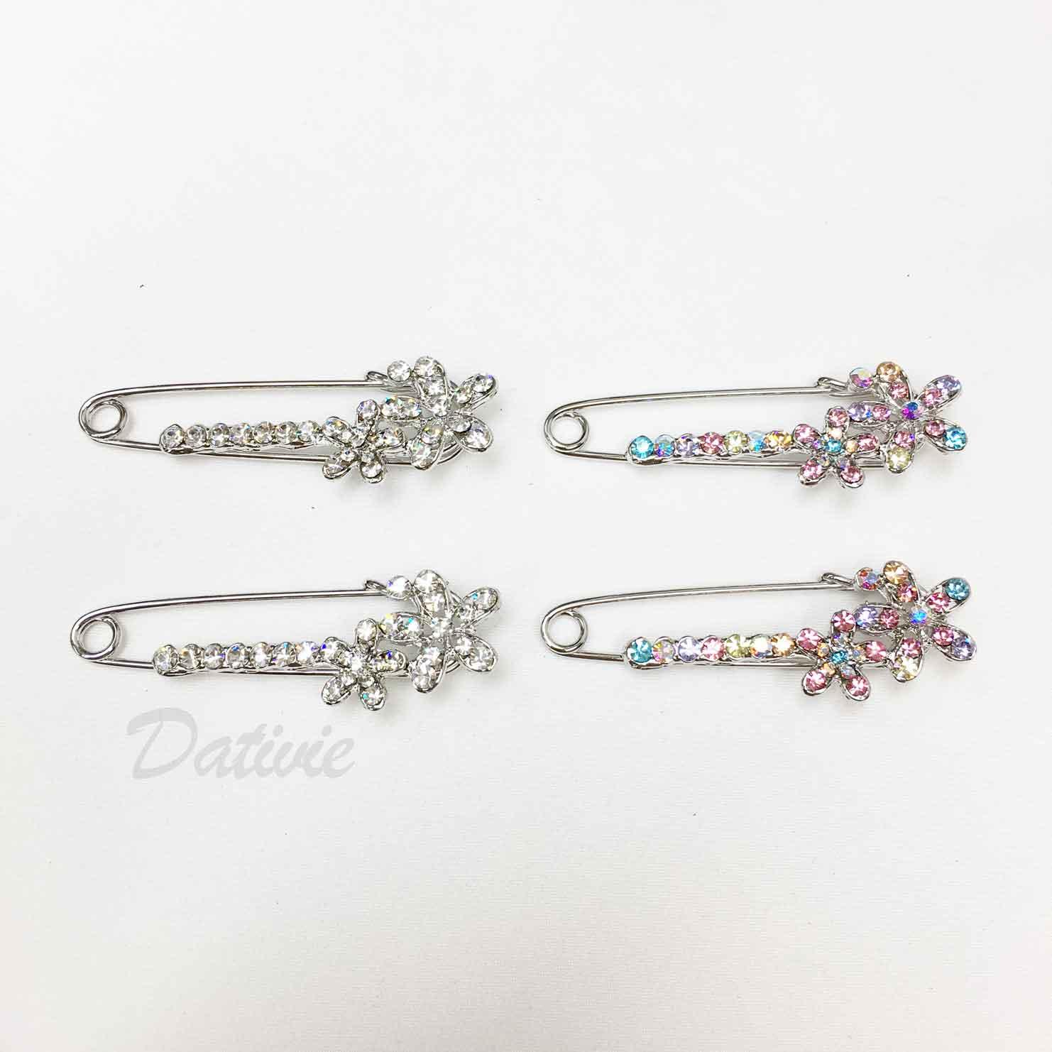 別針造型 花朵 彩色水鑽 可愛 兩色 二入一組 胸針