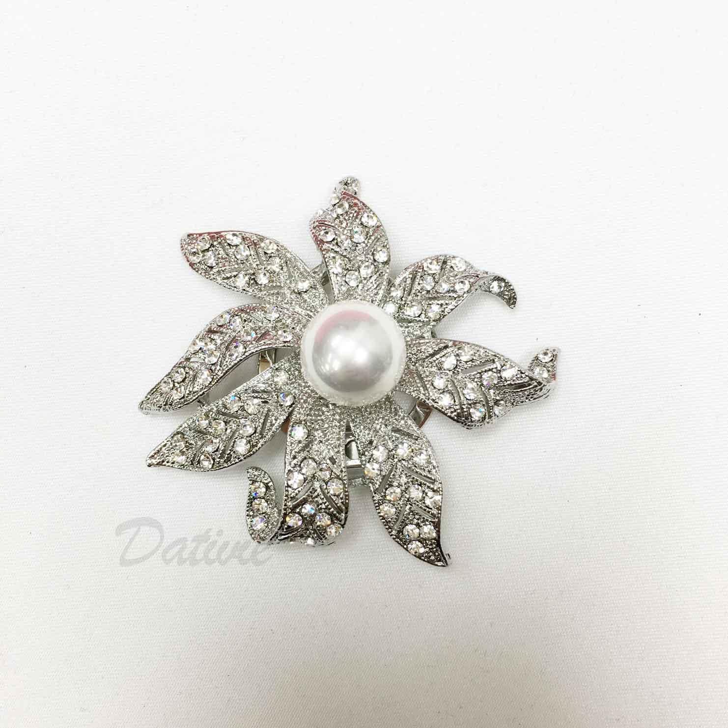 葉子 葉片 花朵 水鑽 白鑽 珍珠 絲巾夾 領巾夾