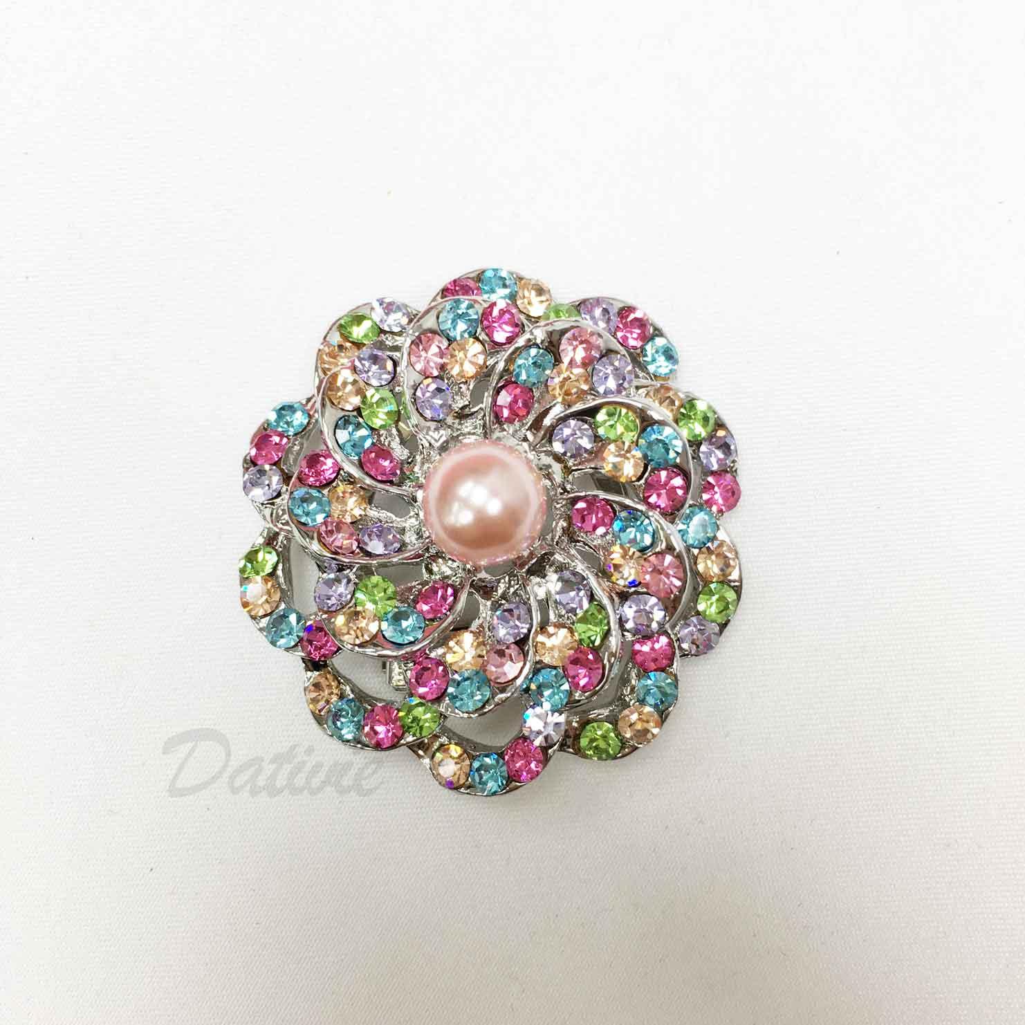 花朵 圓形 花花 彩色水鑽 珍珠 絲巾夾 領巾夾