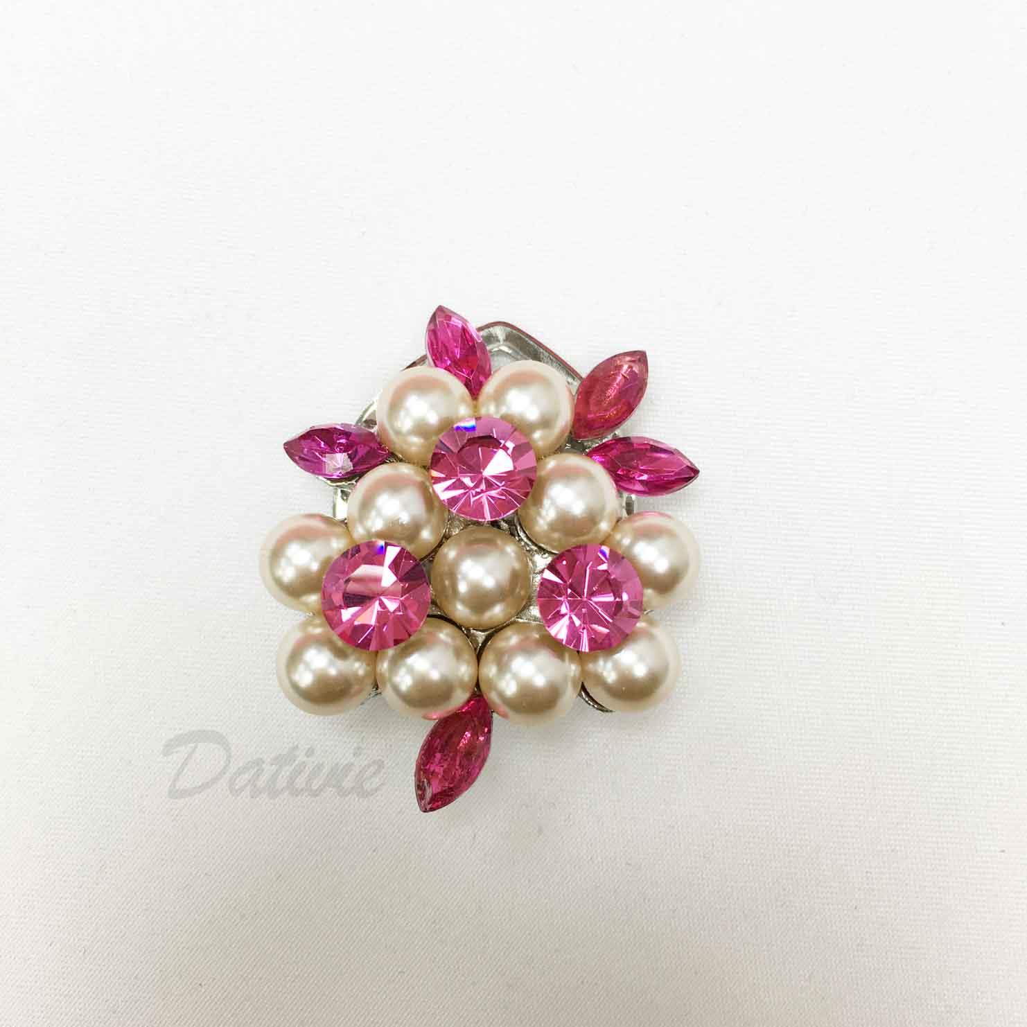 粉色水鑽 粉珍珠 絲巾夾 領巾夾