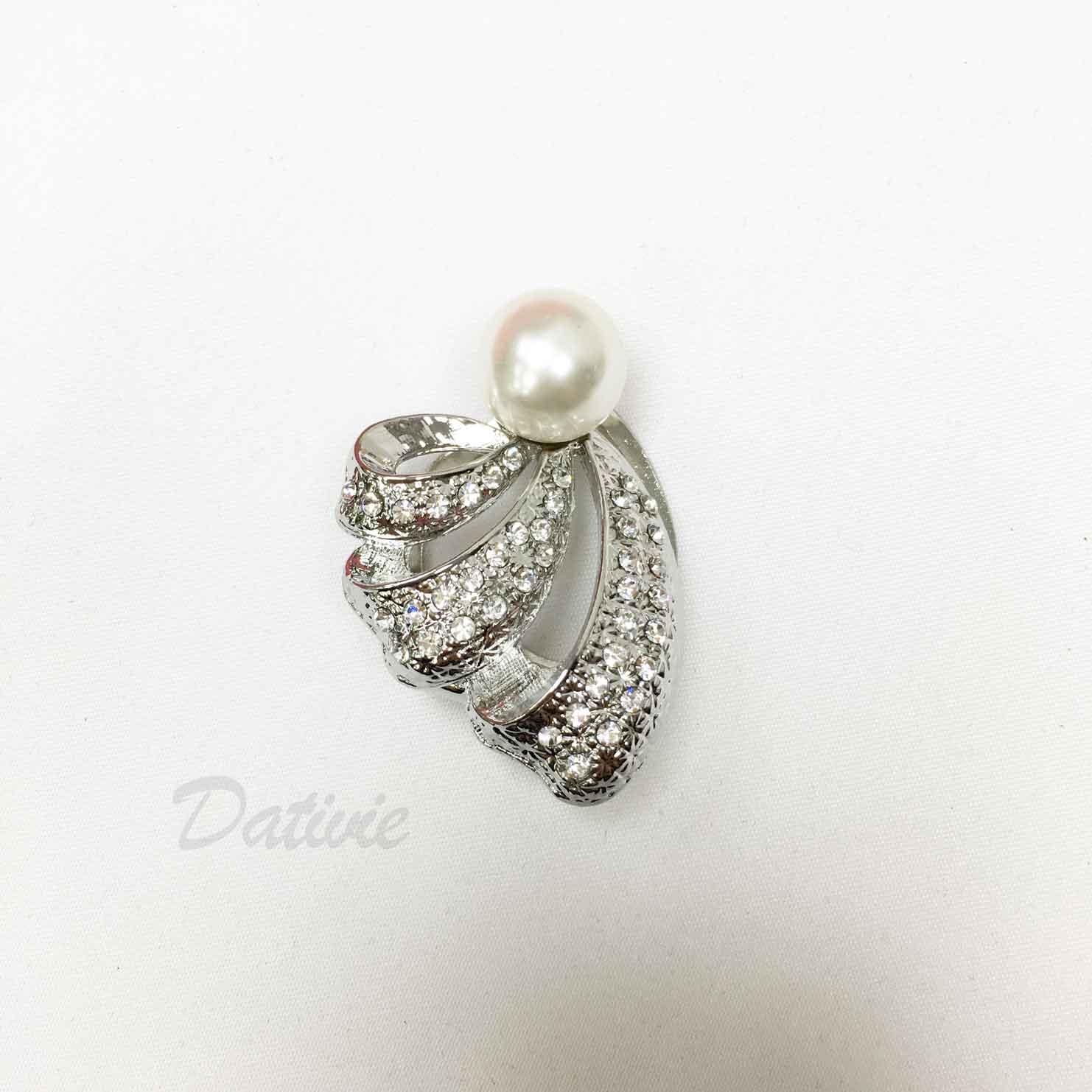 緞帶 簍空 水鑽 白鑽 珍珠 絲巾夾 領巾夾