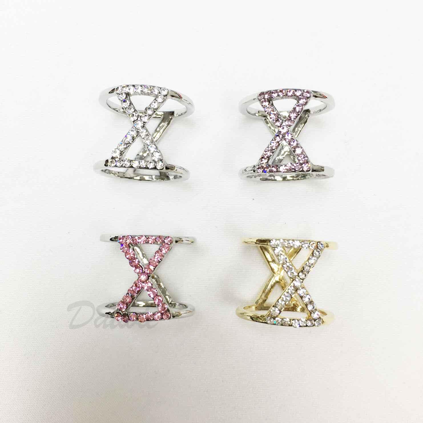 簡約 水鑽 白鑽 粉鑽 紫鑽 交錯 XX 金色 四色 絲巾環