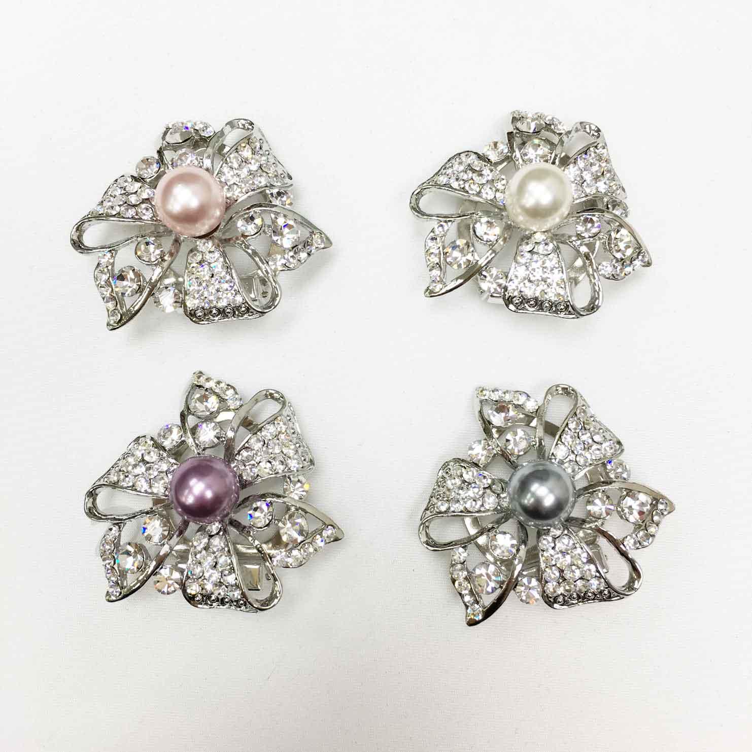花朵 簍空 線條 寬緞帶 水鑽 珍珠 四色 絲巾夾 領巾夾