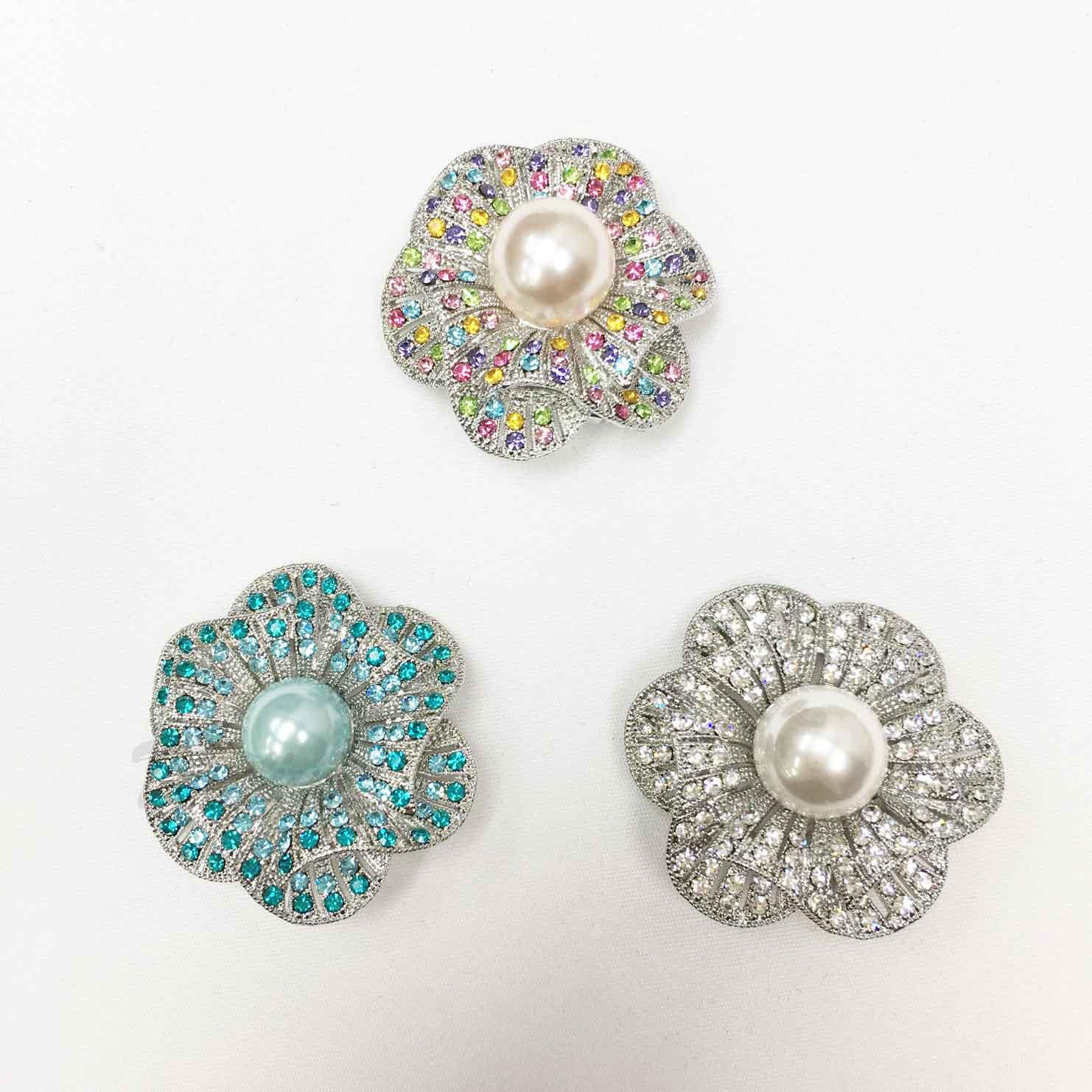 花朵 波紋 紋路 水鑽 珍珠 三色 絲巾夾 領巾夾