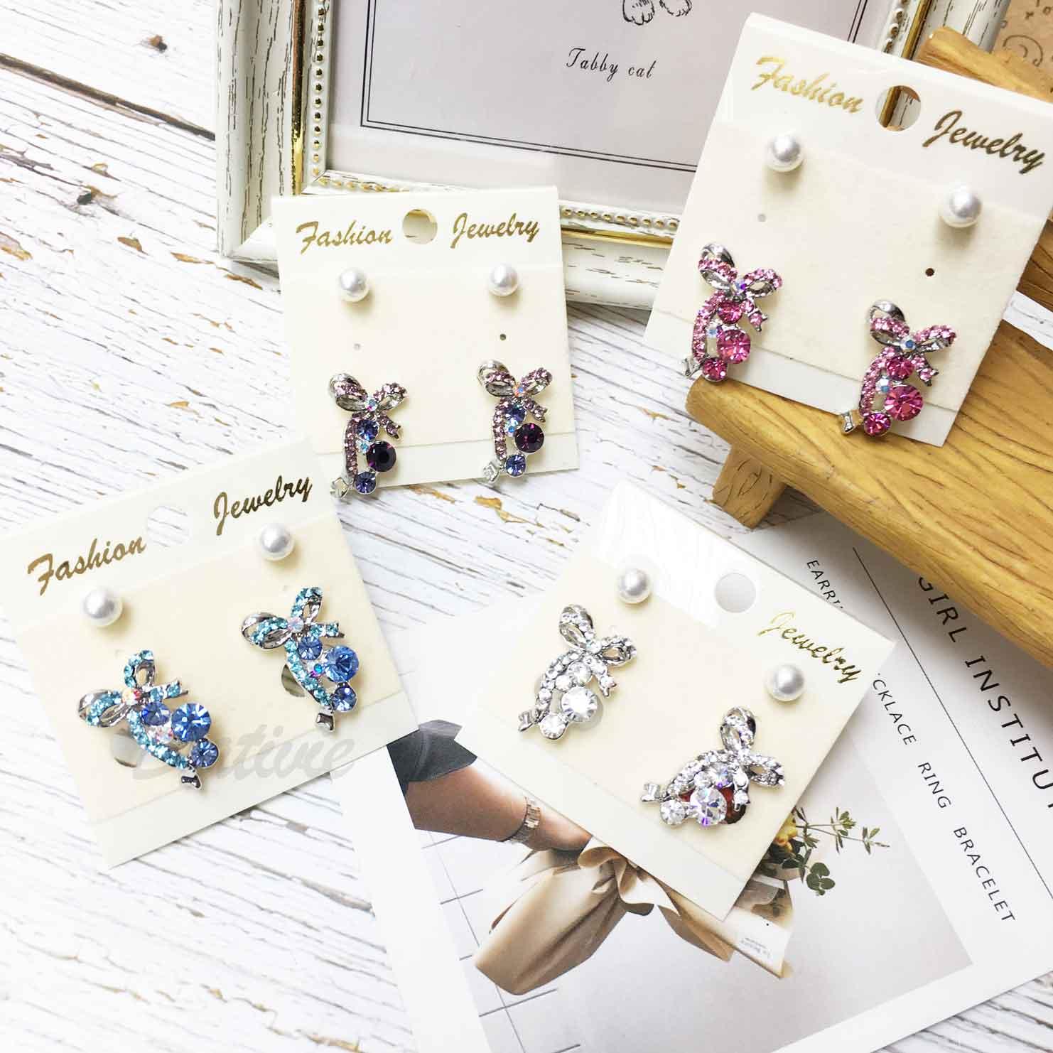 蝴蝶結 水鑽 珍珠 緞帶 四色 一卡四入 一卡多入耳環